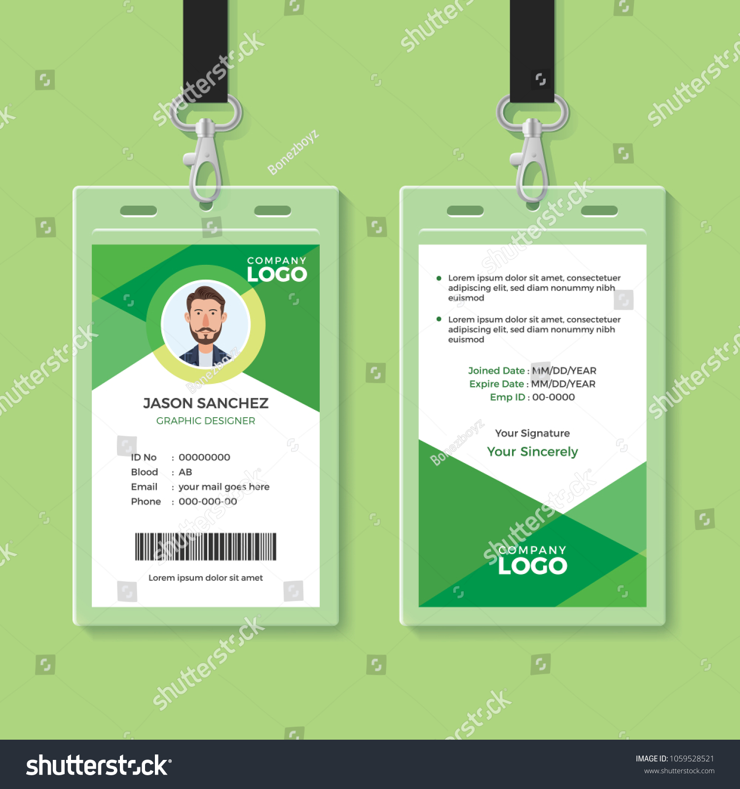 Simple Clean Green ID Card Design Stock Vector 1059528521 - Shutterstock