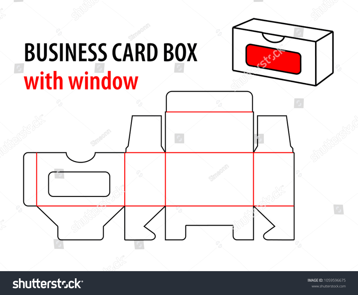 Business card box window die cut stock vector royalty free business card box with window die cut template box visiting card vector isolated circuit fbccfo Images