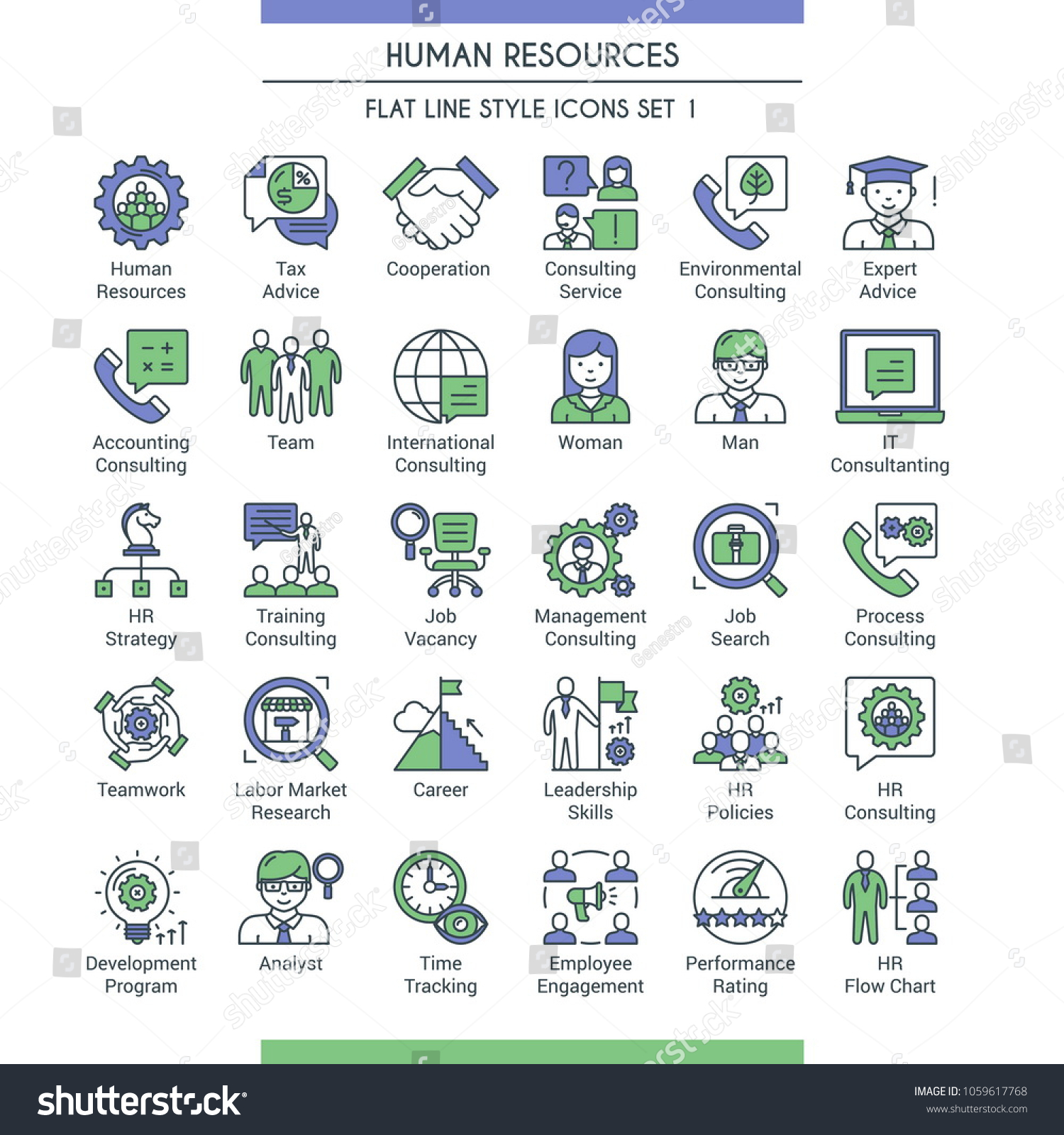 Business Management Human Resources Icons Modern Stock Vector