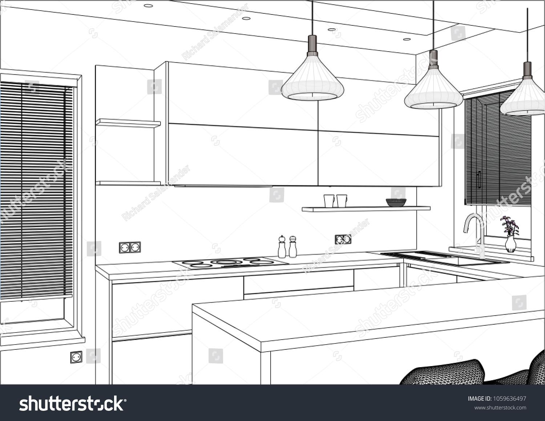 3 D Vector Illustration Modern Kitchen Design Stock Vector Royalty
