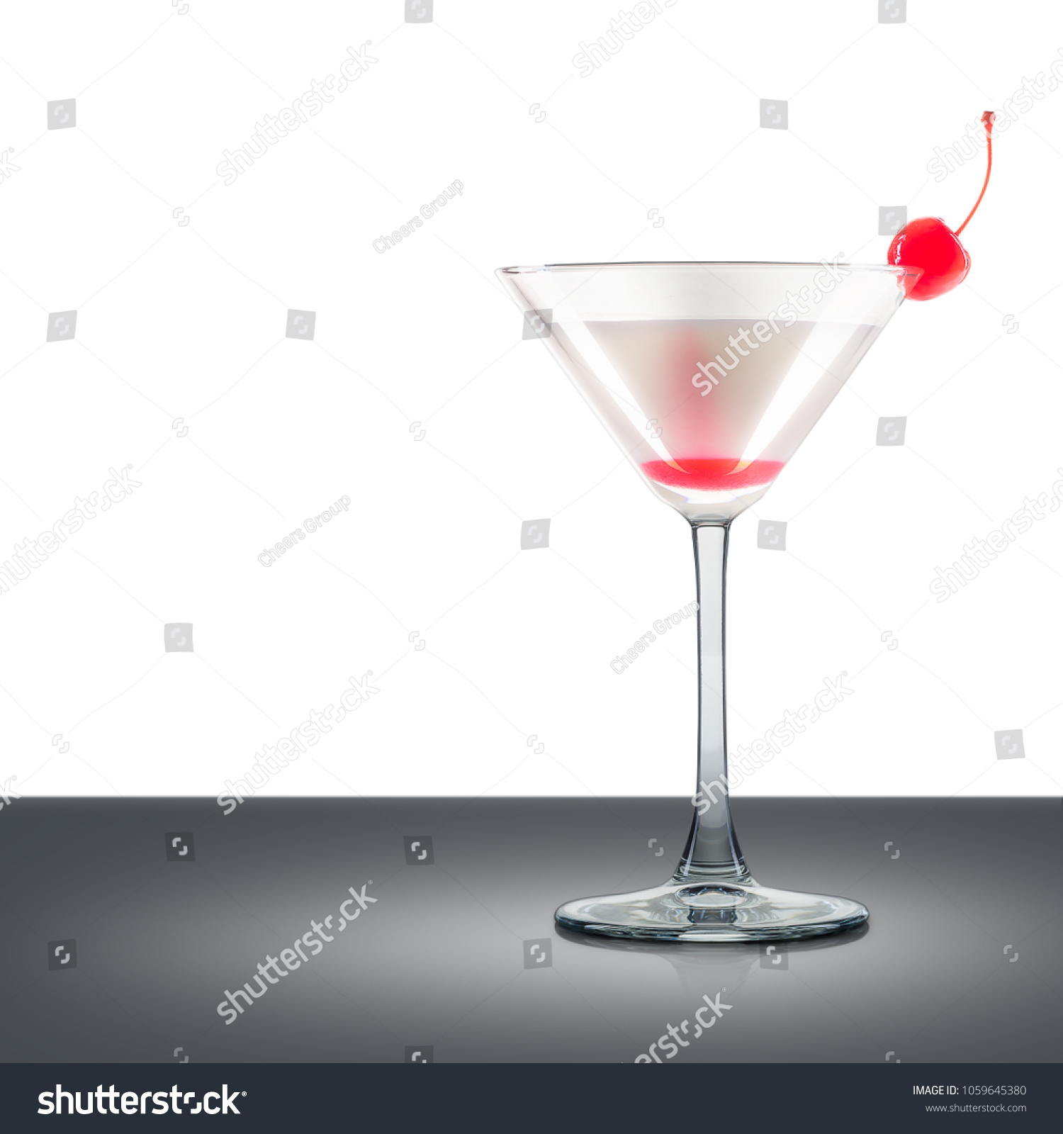 Pina Colada Or White Russian Cocktail In Martini Glass With