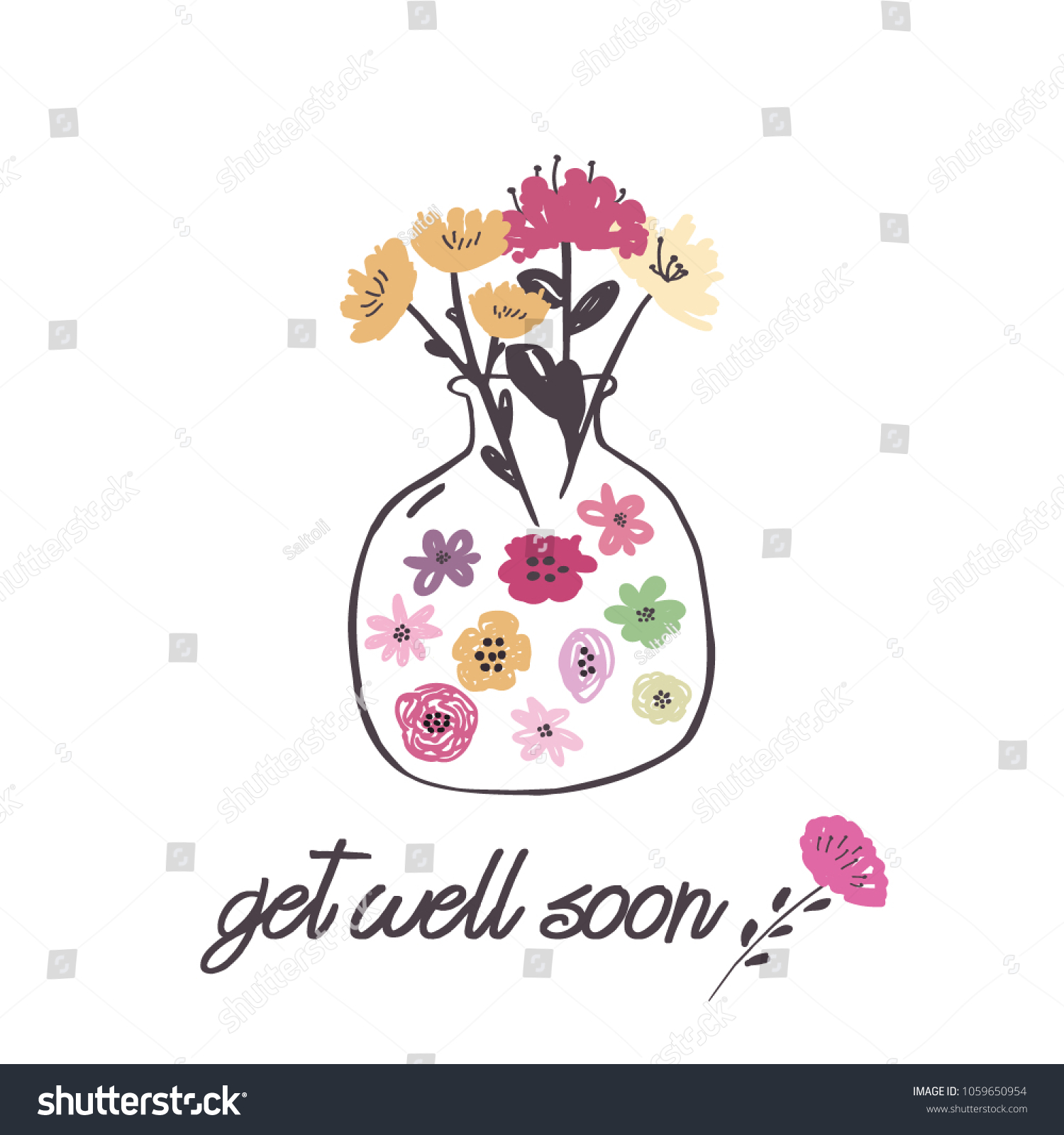 Get Well Greeting Card Spring Flowers Stock Vector 1059650954
