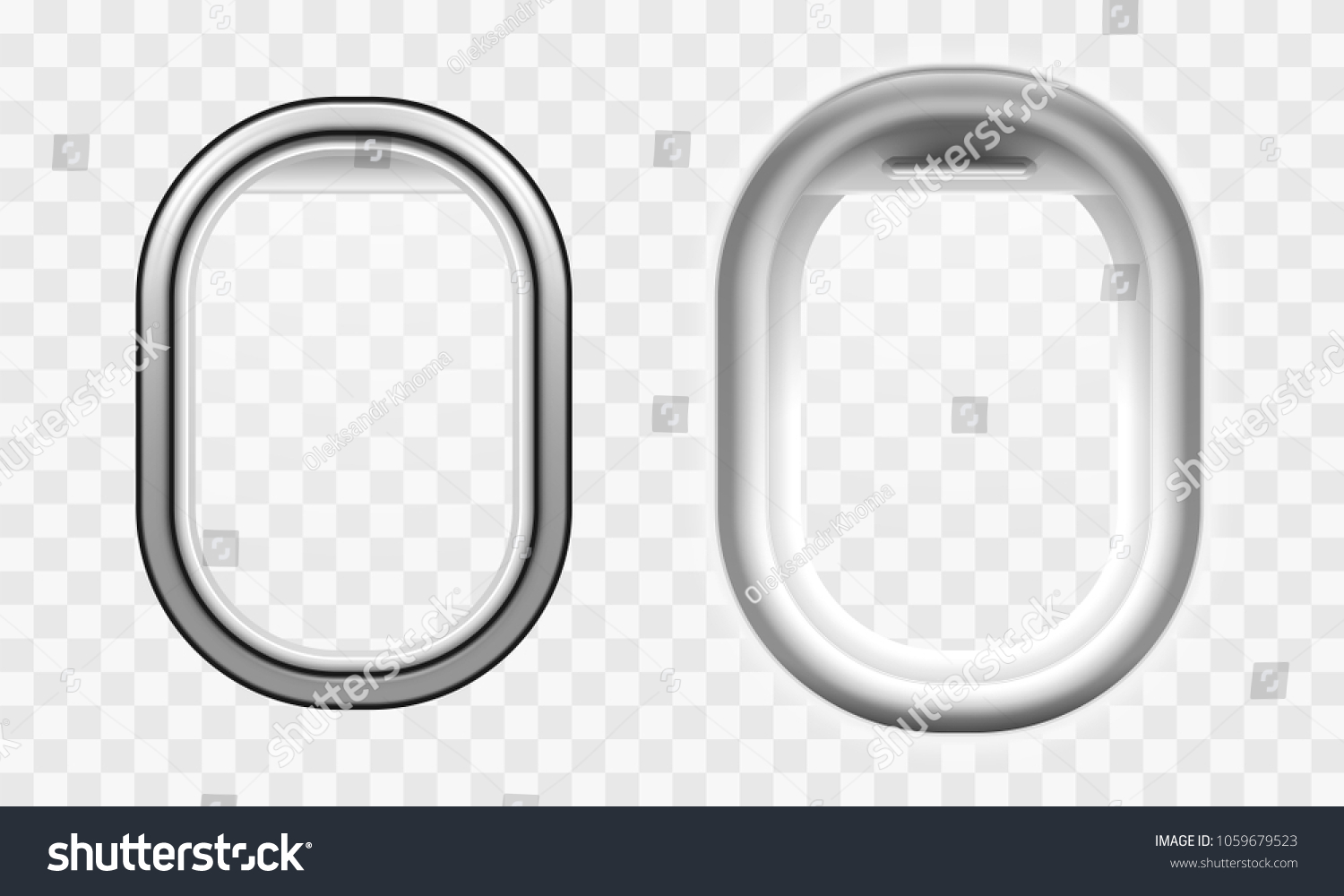 Airplane window template inside and outside view, airliner porthole vector illustration, isolated aircraft window with transparent glass