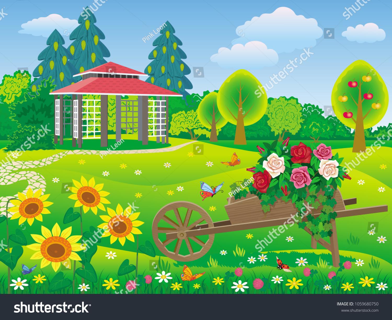 Vector Illustration Beautiful Garden Gazebo Decorative Stock Photo ...