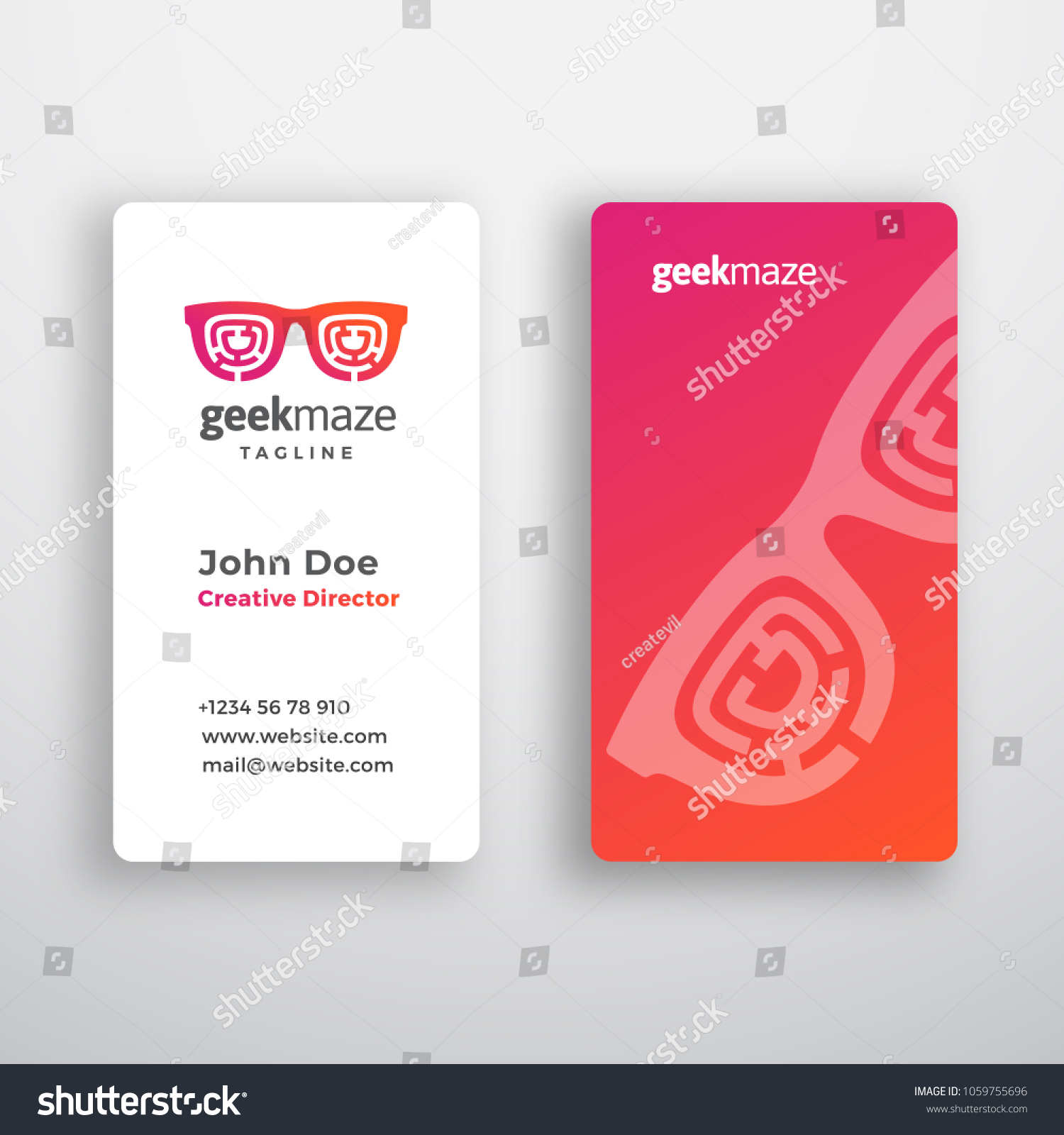 Geek maze abstract vector business card em vetor stock 1059755696 geek maze abstract vector business card template premium stationary realistic mock up modern typography reheart Image collections