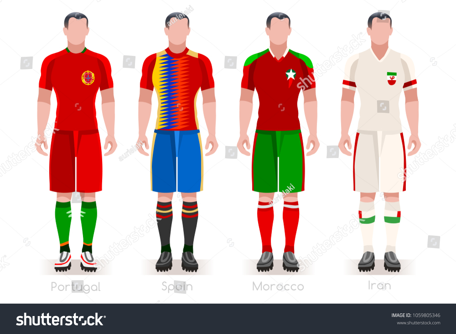Russia 2018 soccer world cup group B players with team shirts flags.  Referee football illustration 1a47cd8a4