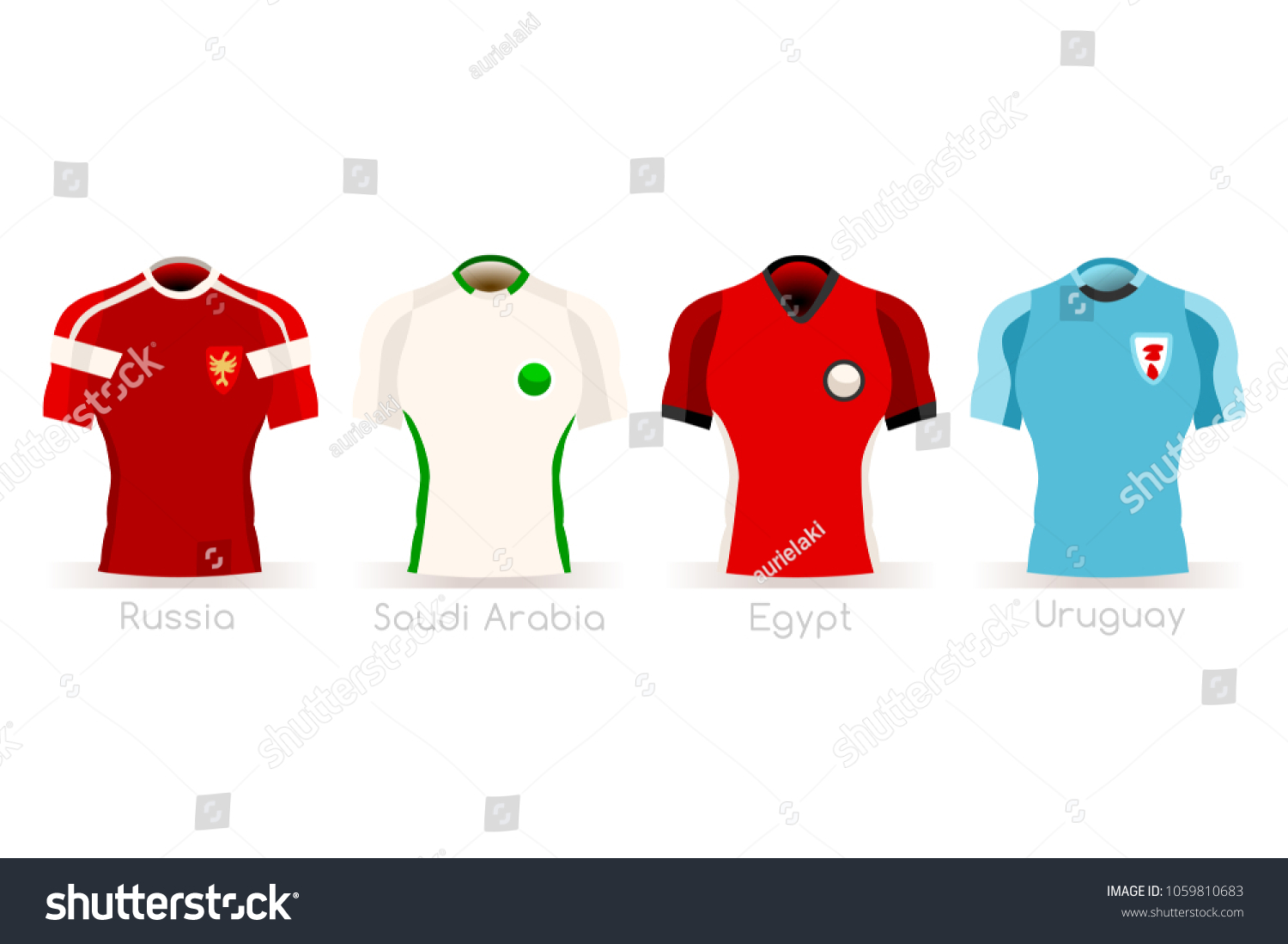 Russia 2018 soccer world cup group A players with team jersey flags.  Referee football illustration 965347070