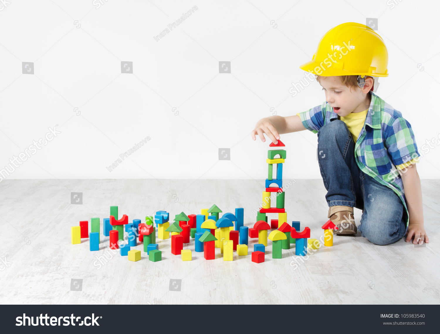 Construction Play Toys : Kids play room child hard hat stock photo