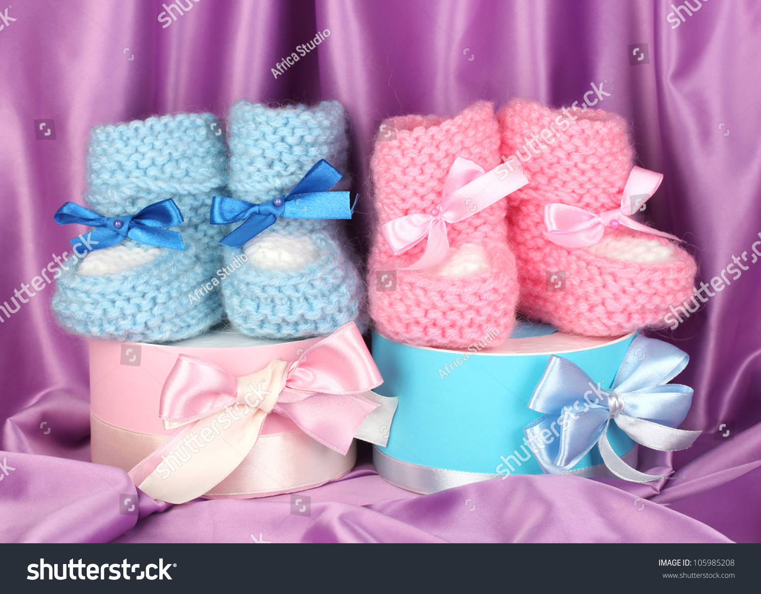 Pink Blue Baby Boots Gifts On Stock Photo Edit Now 105985208