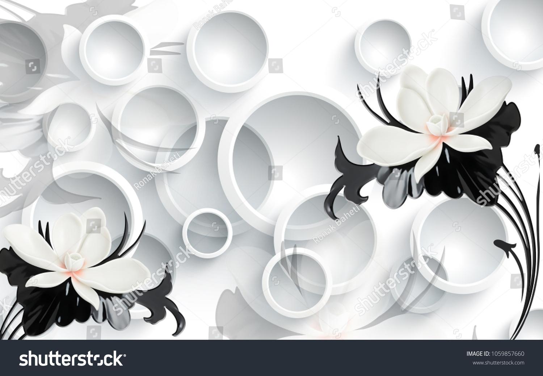 3d Floral Wallpaper Walls Stock Illustration 1059857660