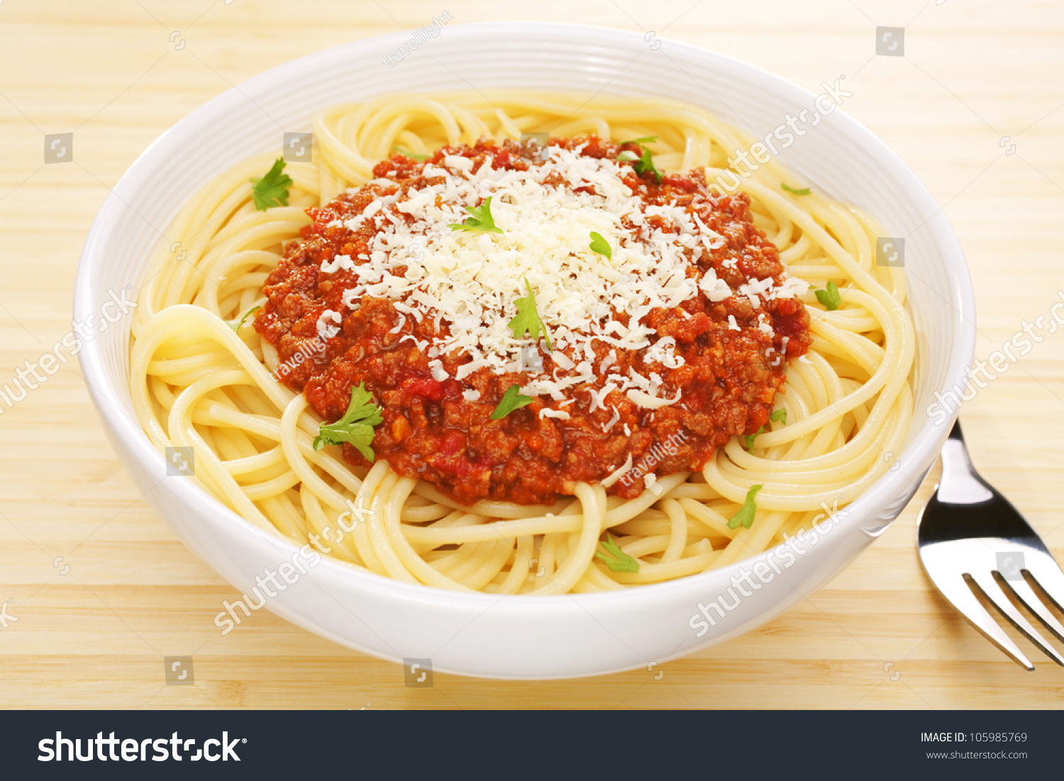 traditional italian favourite pasta dish spaghetti stock photo 105985769 shutterstock. Black Bedroom Furniture Sets. Home Design Ideas
