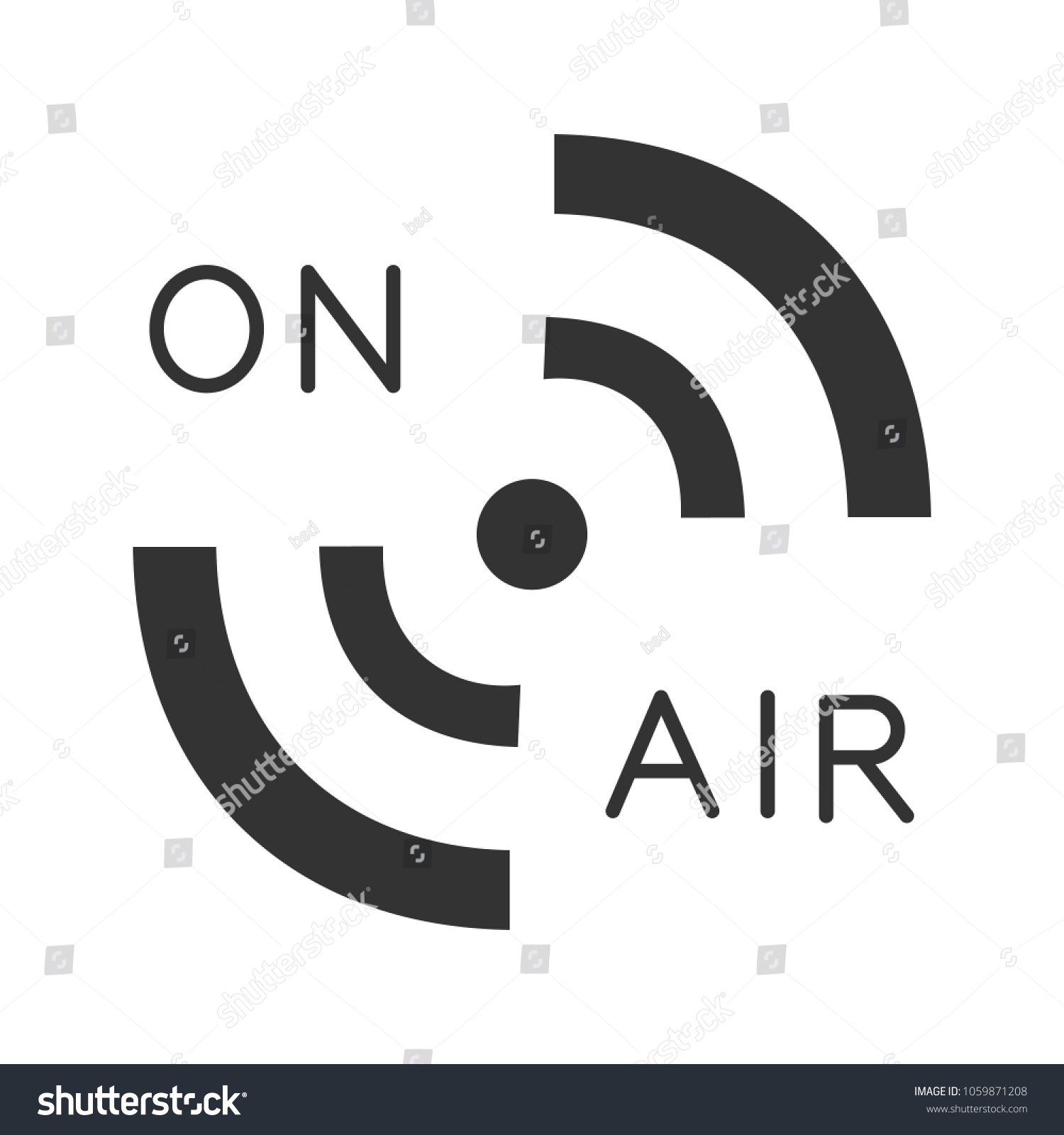 Radio Signal Glyph Icon On Air Stock Vector Royalty Free