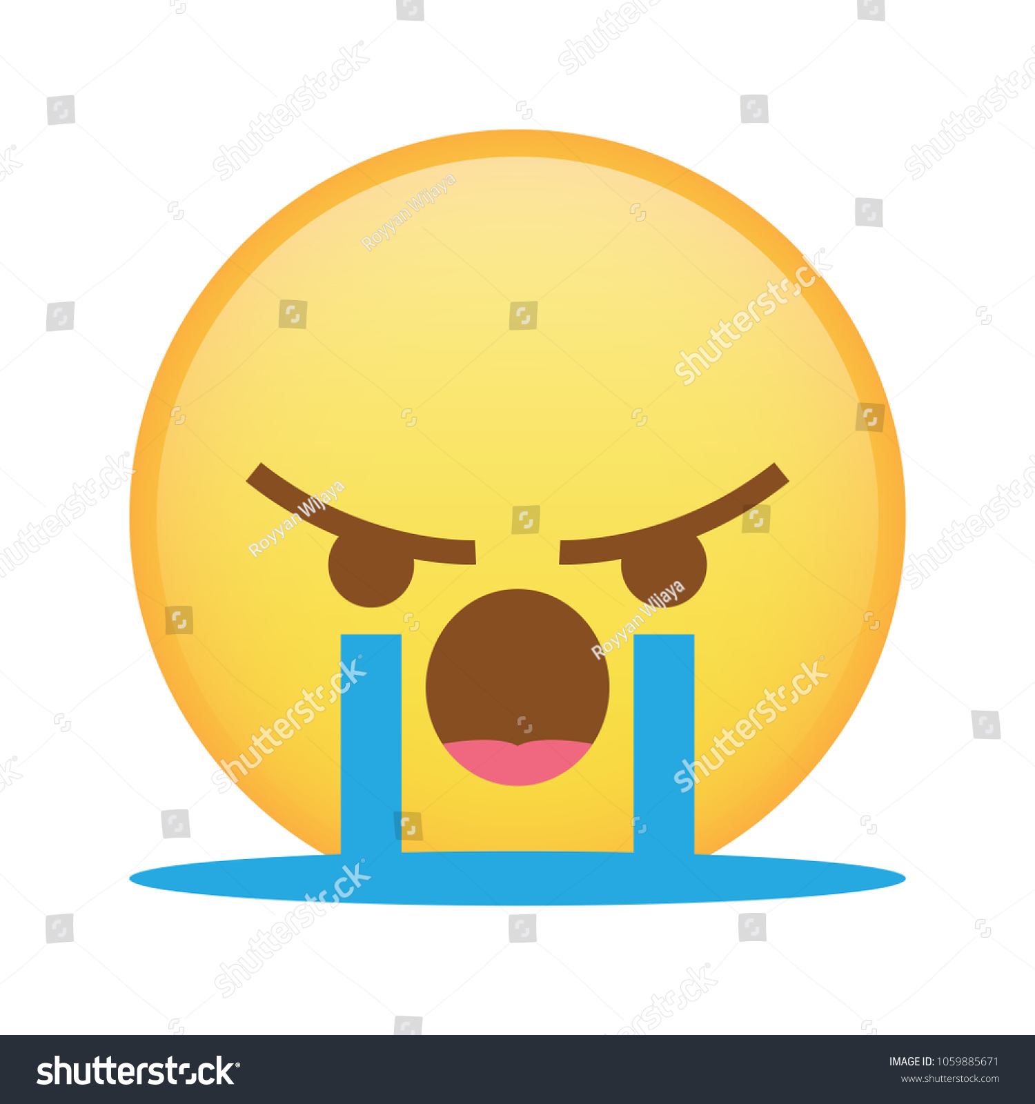 Angry React Emoji Cry That Represent Stock Vector (Royalty