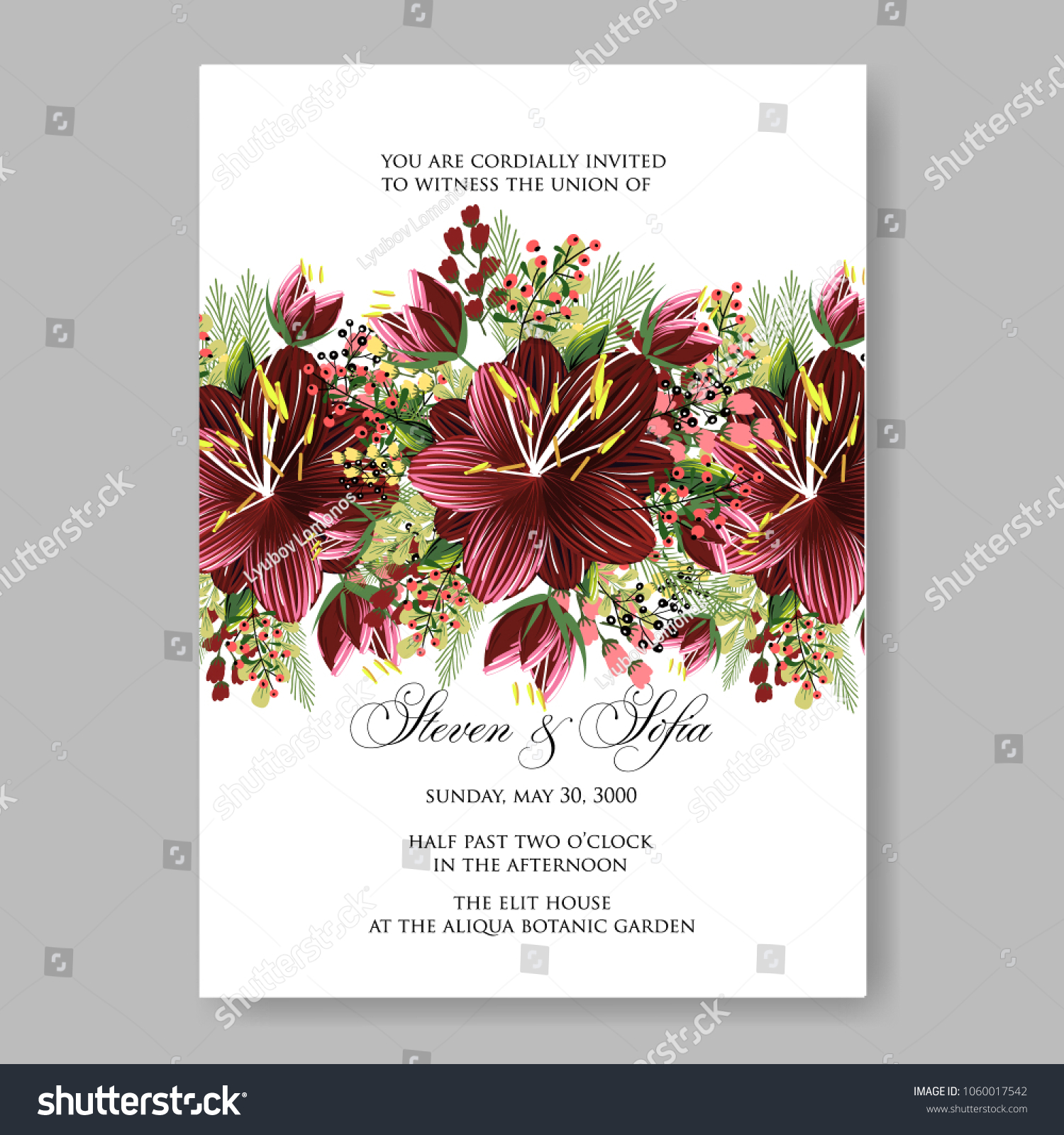 Wedding Invitation Burgundy Color Hibiscus Floral Stock Vector ...