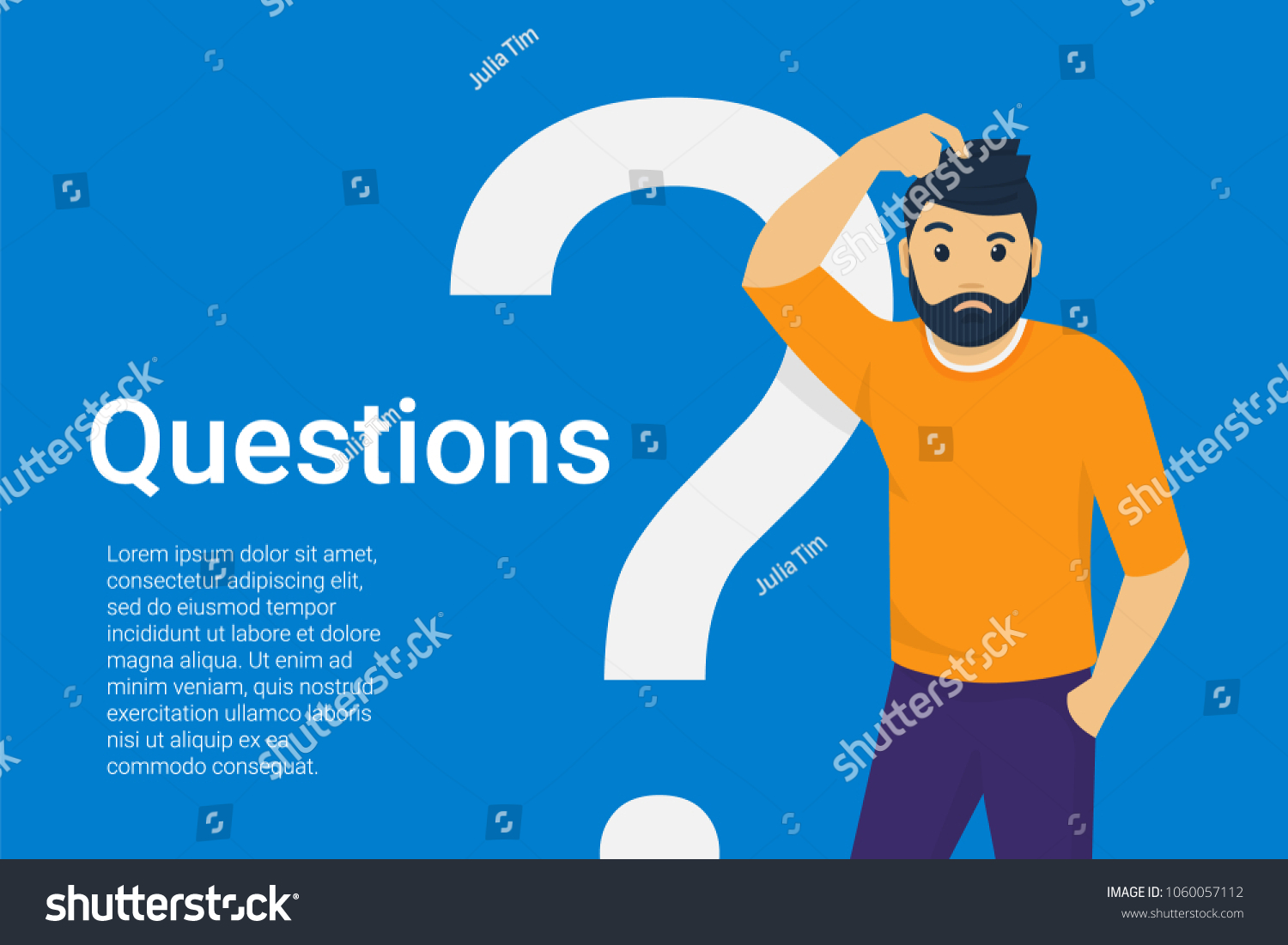 Young Man Standing Near Big Question Stock Vector (Royalty