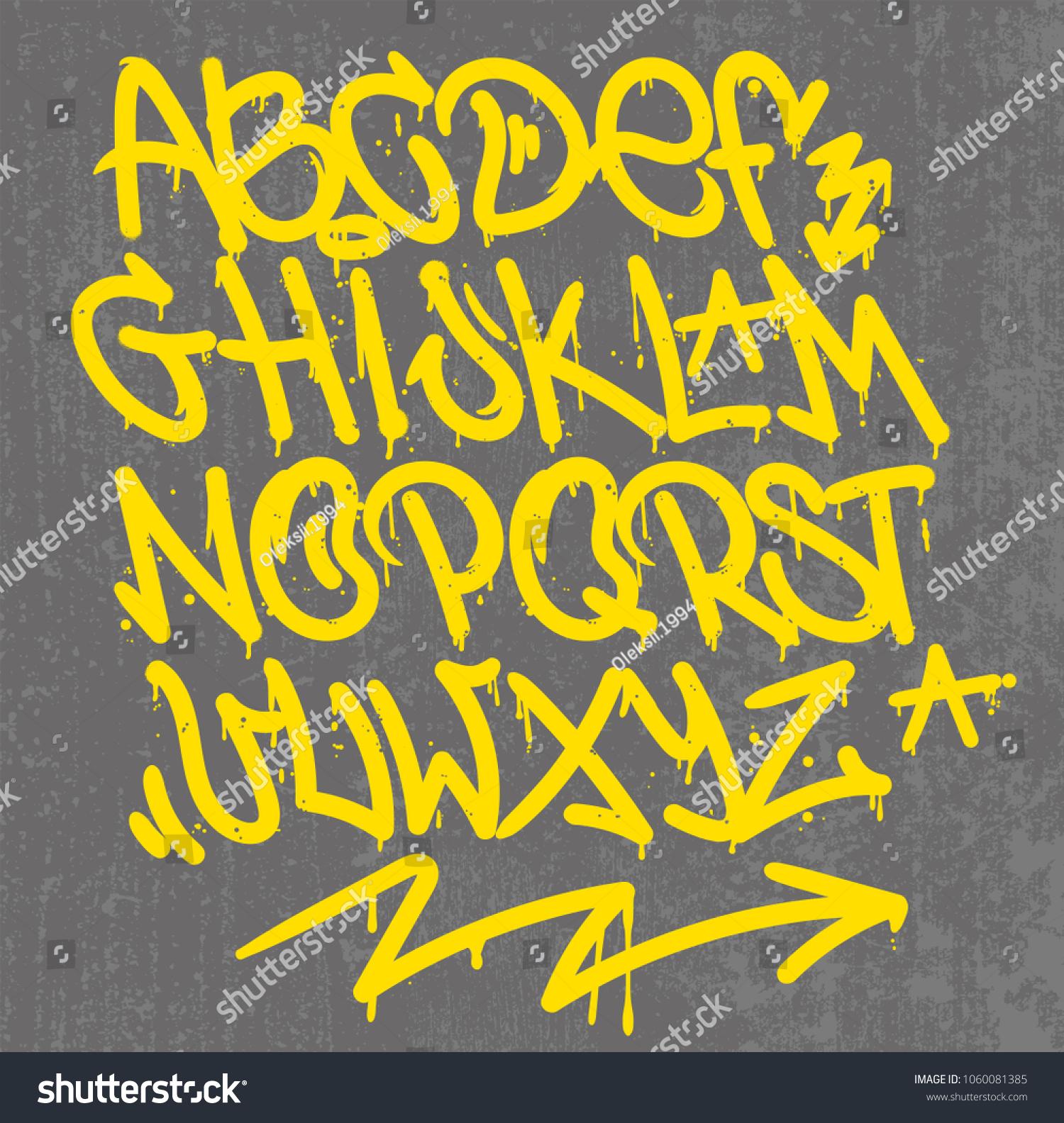 Set Street Type Calligraphy Design Alphabet Stock Vector (Royalty ...