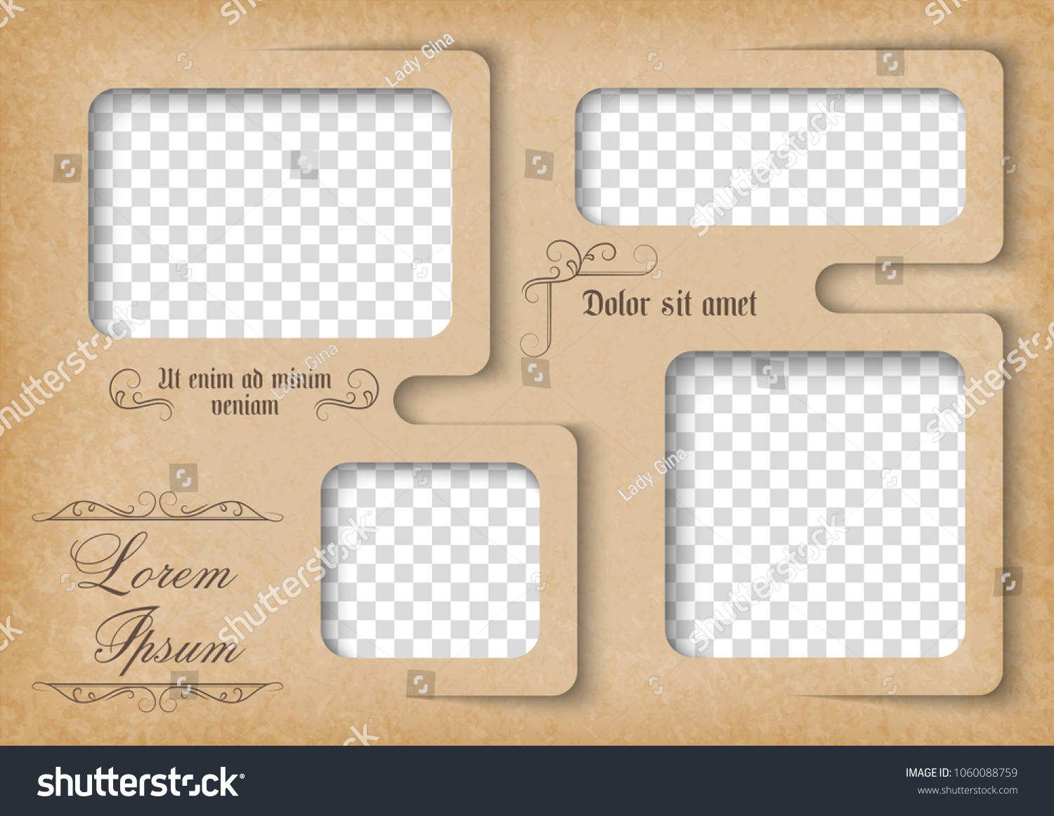 Template Photo Collage Vintage Style Family Stock Vector Royalty