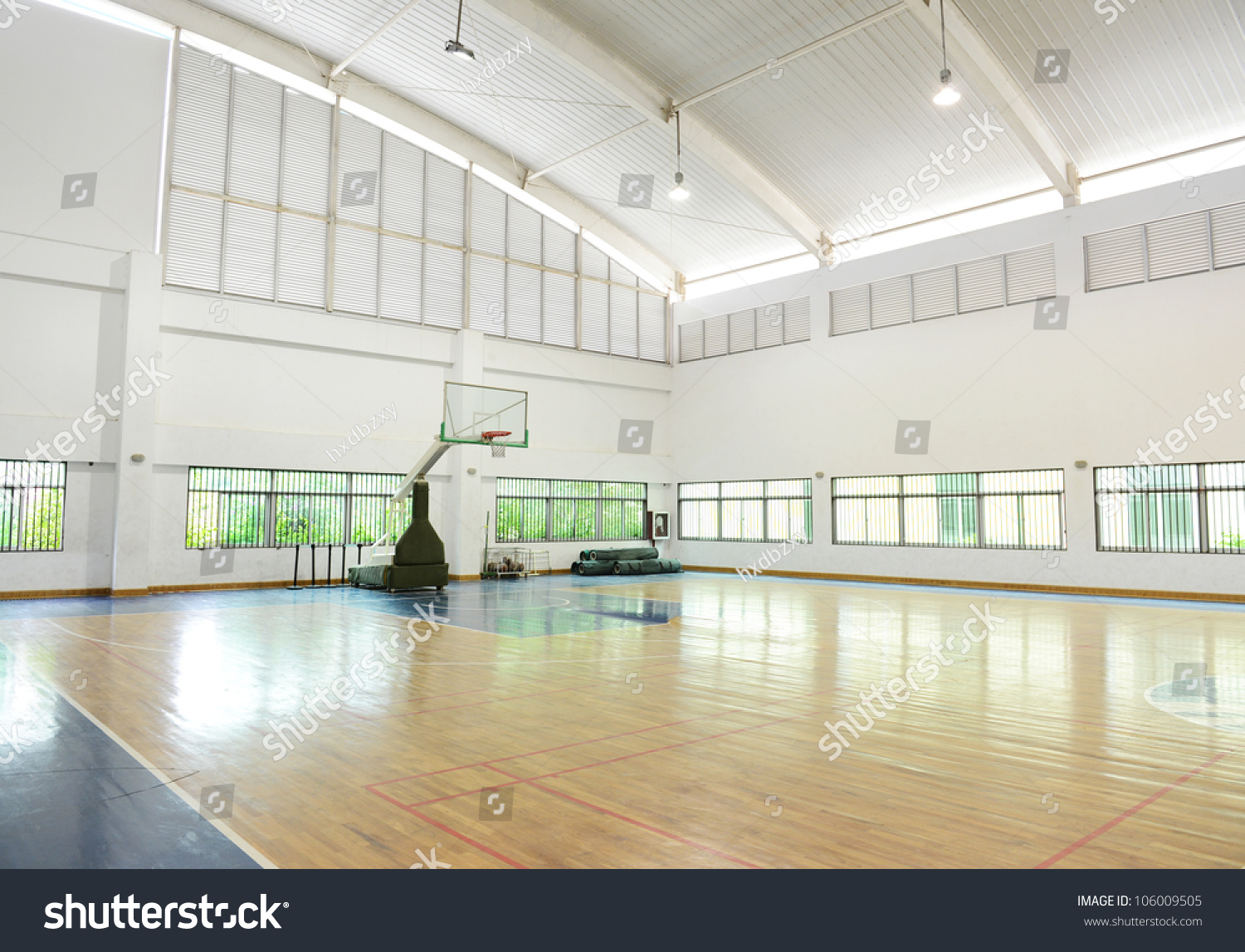 Royalty-free Basketball court, school gym indoor. #106009505 Stock ...