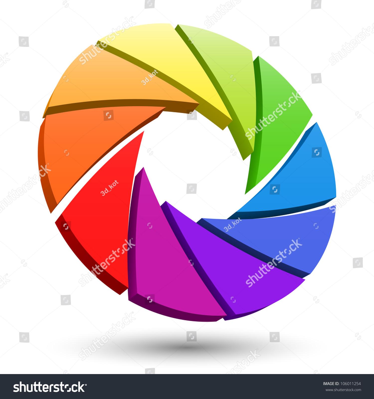 Aperture Color Wheel 3 D Logo Stock Illustration 106011254
