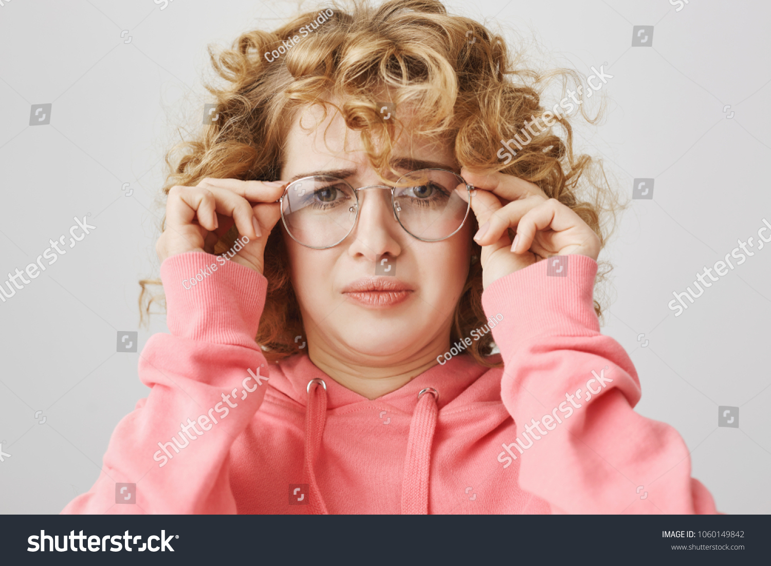 Cute Curlyhaired Girl Weird Expression Bending Stock Photo Edit Now