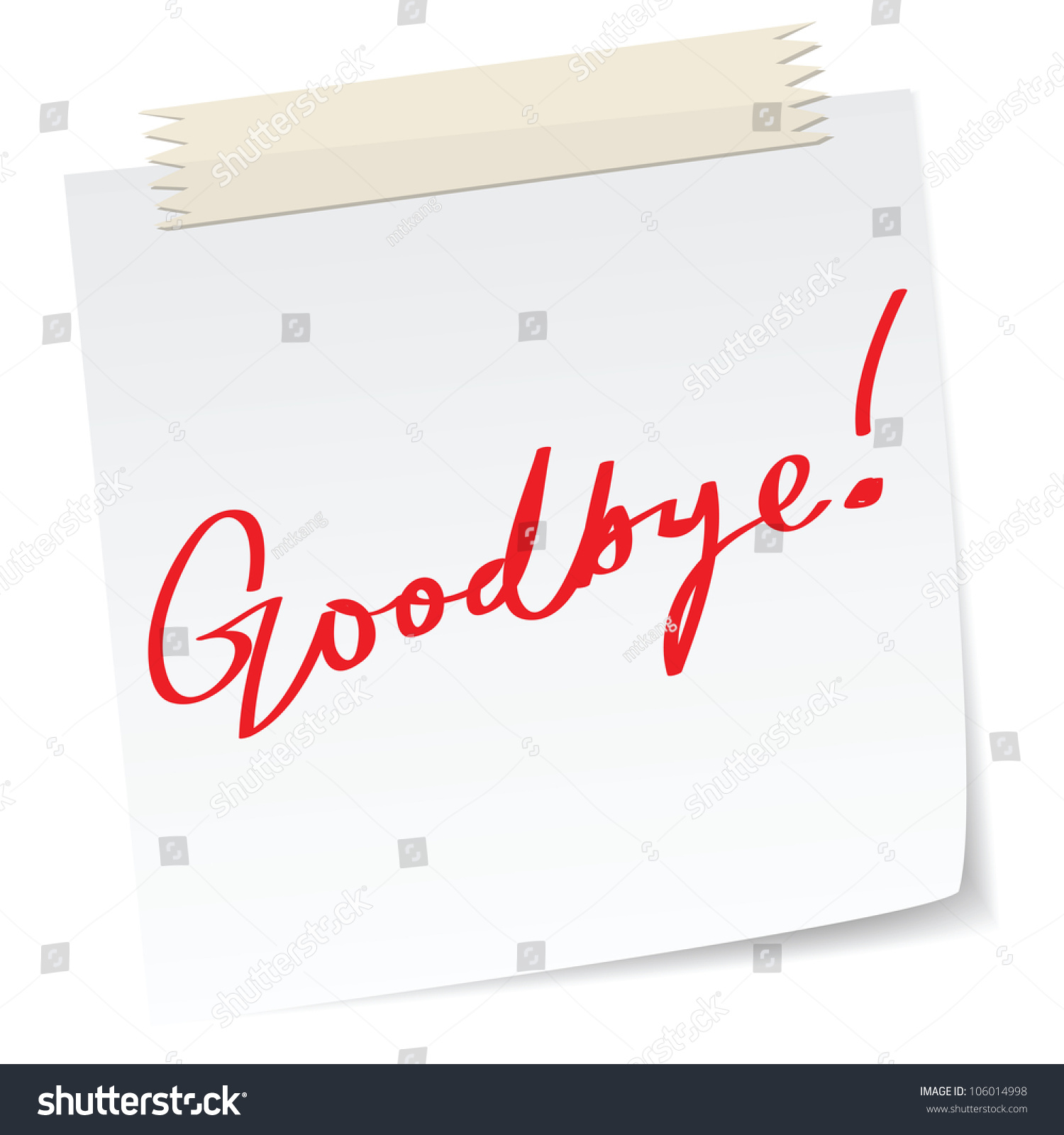 Goodbye Message On Paper Note Handwriting Vector 106014998 – Goodbye Note