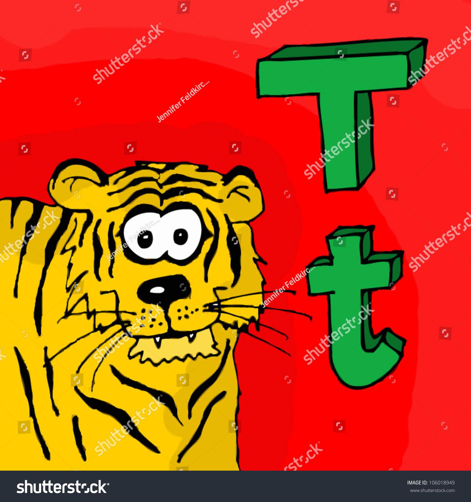 German Animal Alphabet Kids Letter T Stock Vector