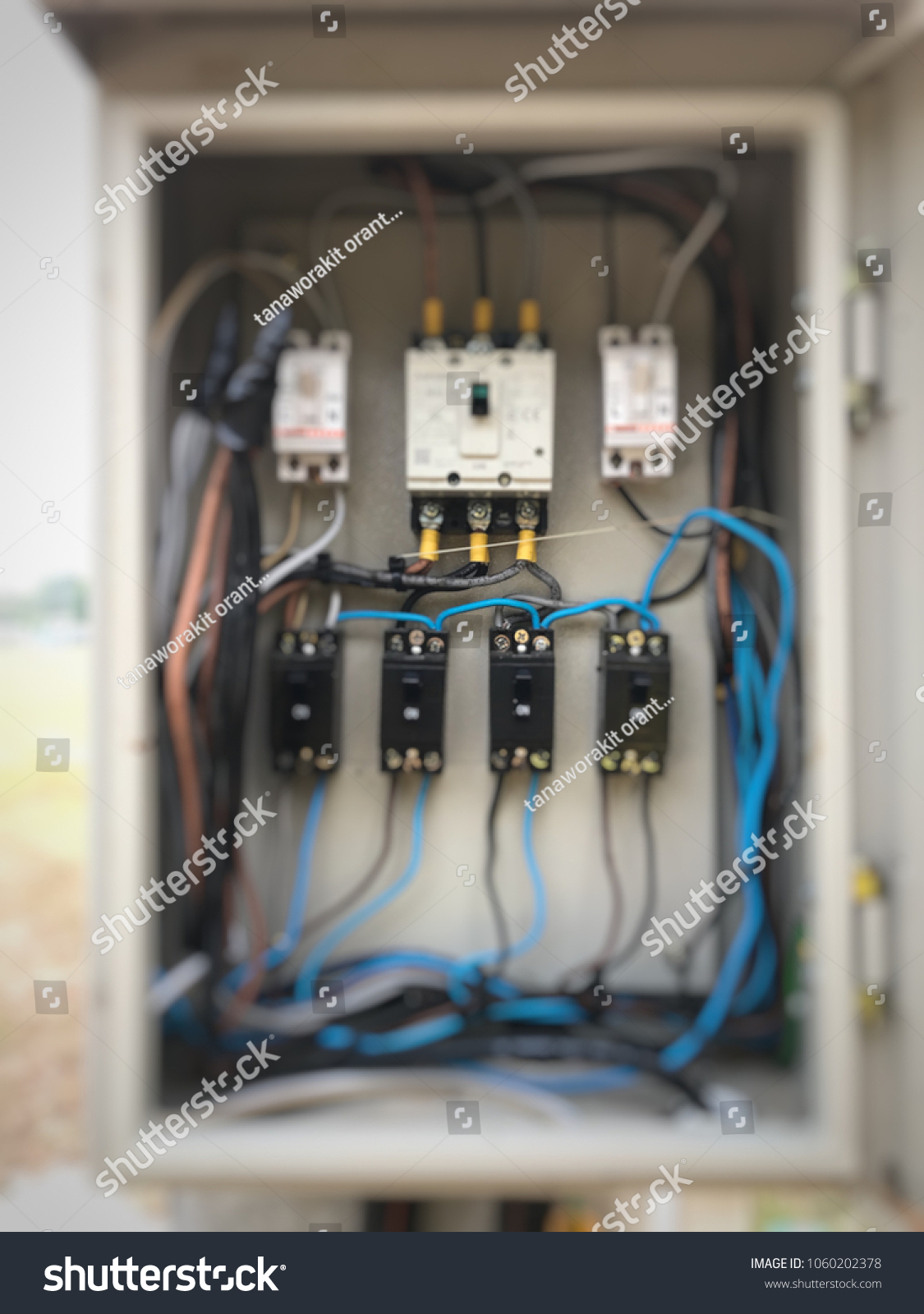 Electric Circuit Breaker Box Electricity Stock Photo Edit Electrical Wiring When Installing In A Distribution With Wire And