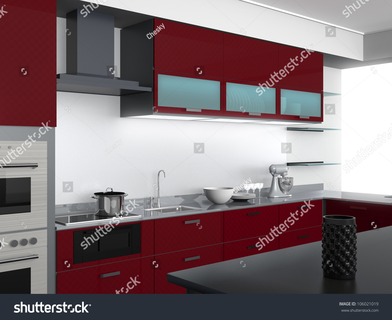 Modern Kitchen Design With Burgundy Tone(perspective View)