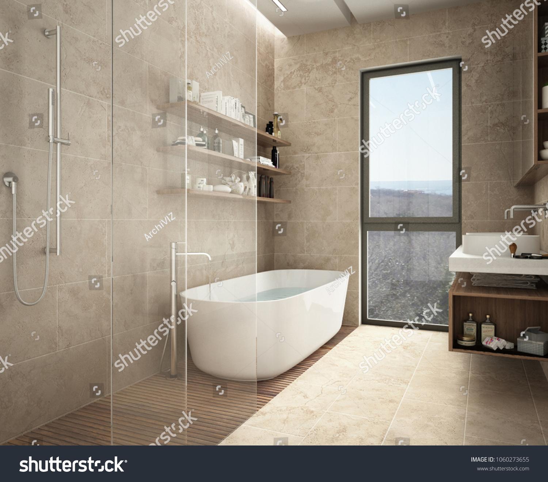 Modern Limestone Bathroom Bathtub Shower Shelves Stock Illustration ...