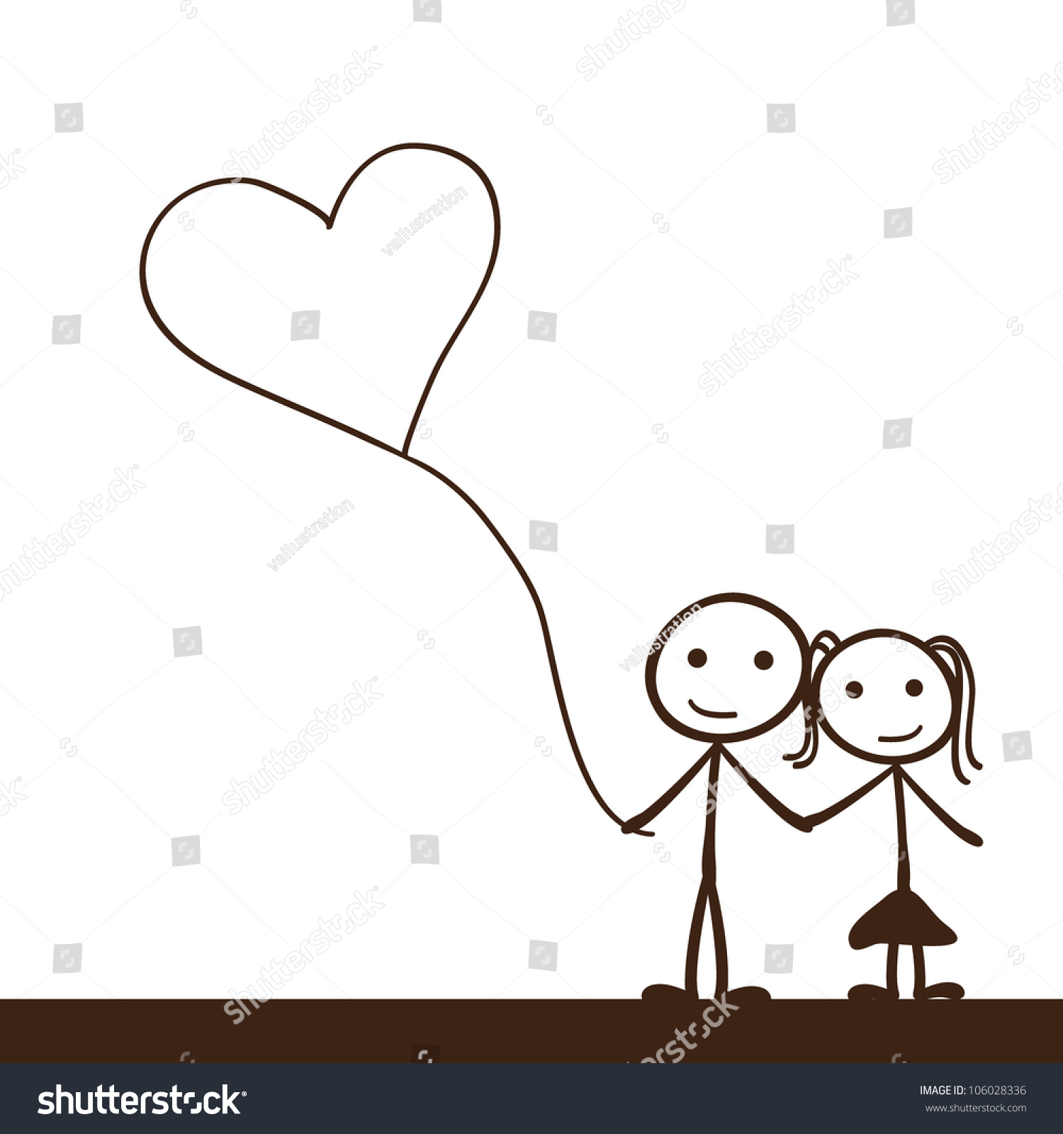 simple stick figure heart balloon background stock vector