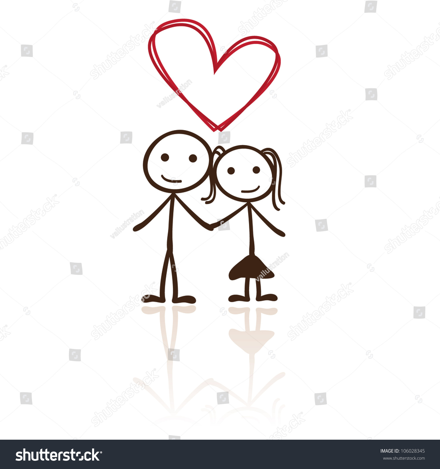 Stick Figure Couple Heart Shaped Above Stock Vector 106028345 ...