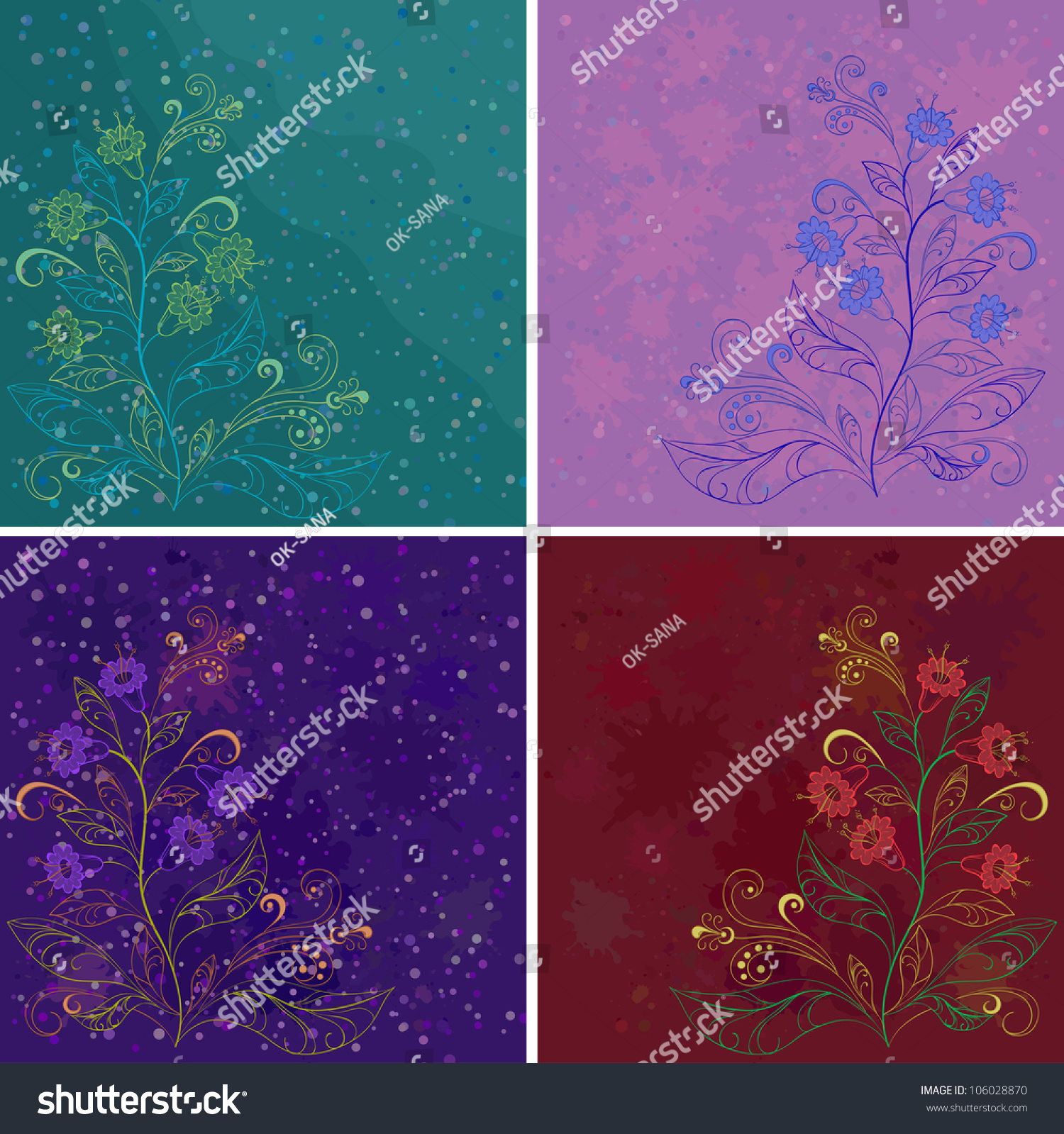 Set Abstract Floral Backgrounds Symbolical Flowers Stock Vector