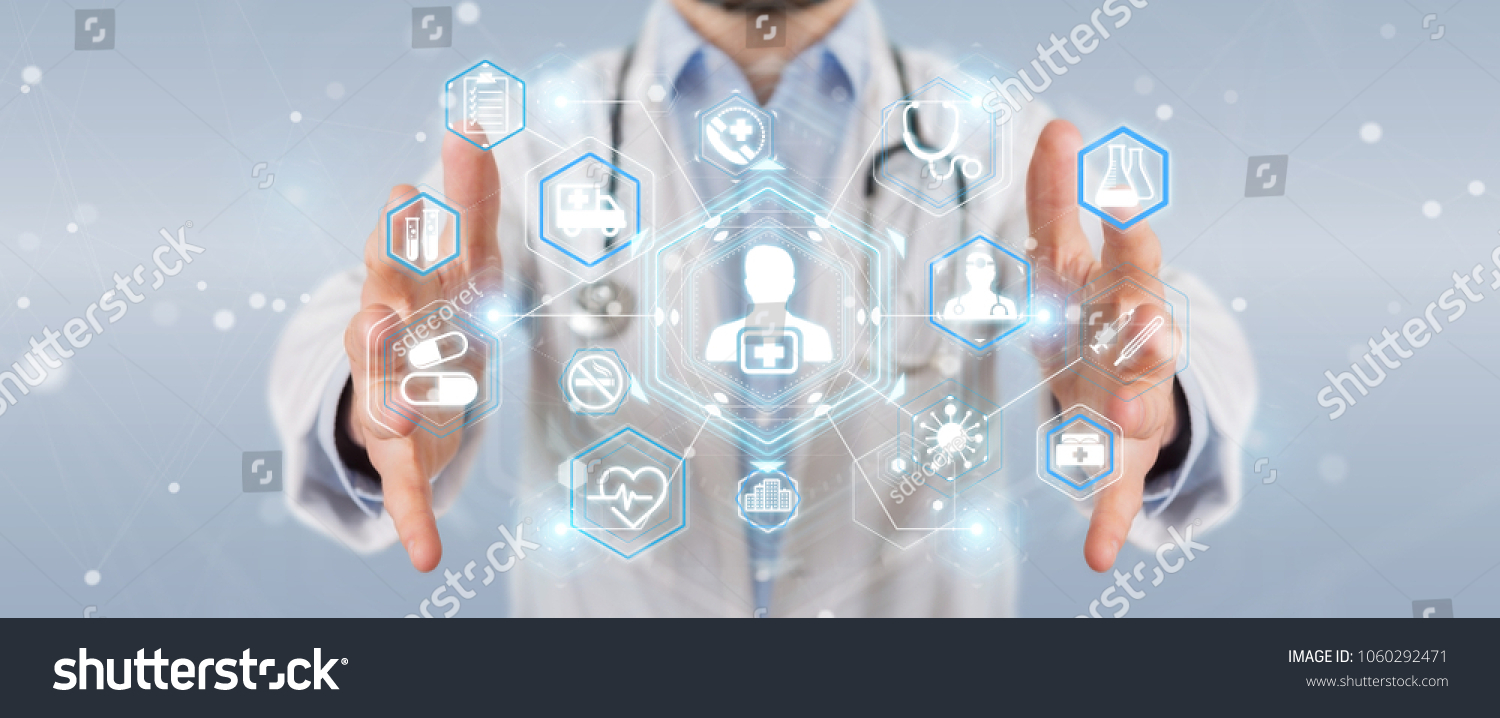 Doctor on blurred background using digital medical futuristic interface 3D rendering #1060292471