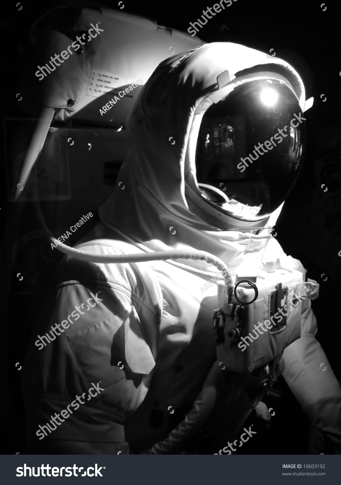 A complete astronaut setup under dramatic lighting. Black and white. & Complete Astronaut Setup Under Dramatic Lighting Stock Photo ... azcodes.com