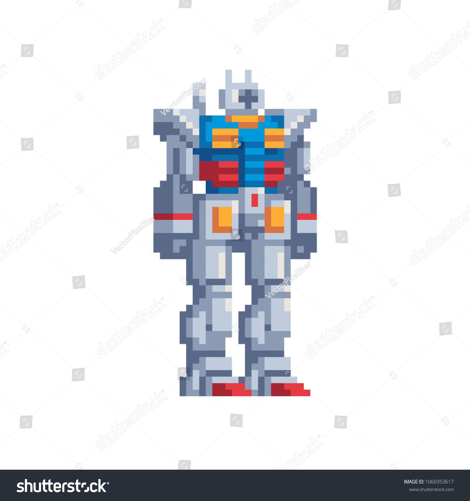 Robot Transformer Cartoon Character Pixel Art Stock Vector