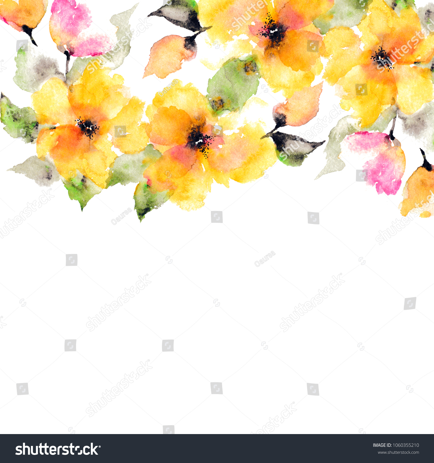 Yellow Flowers Watercolor Floral Background Wedding Stock