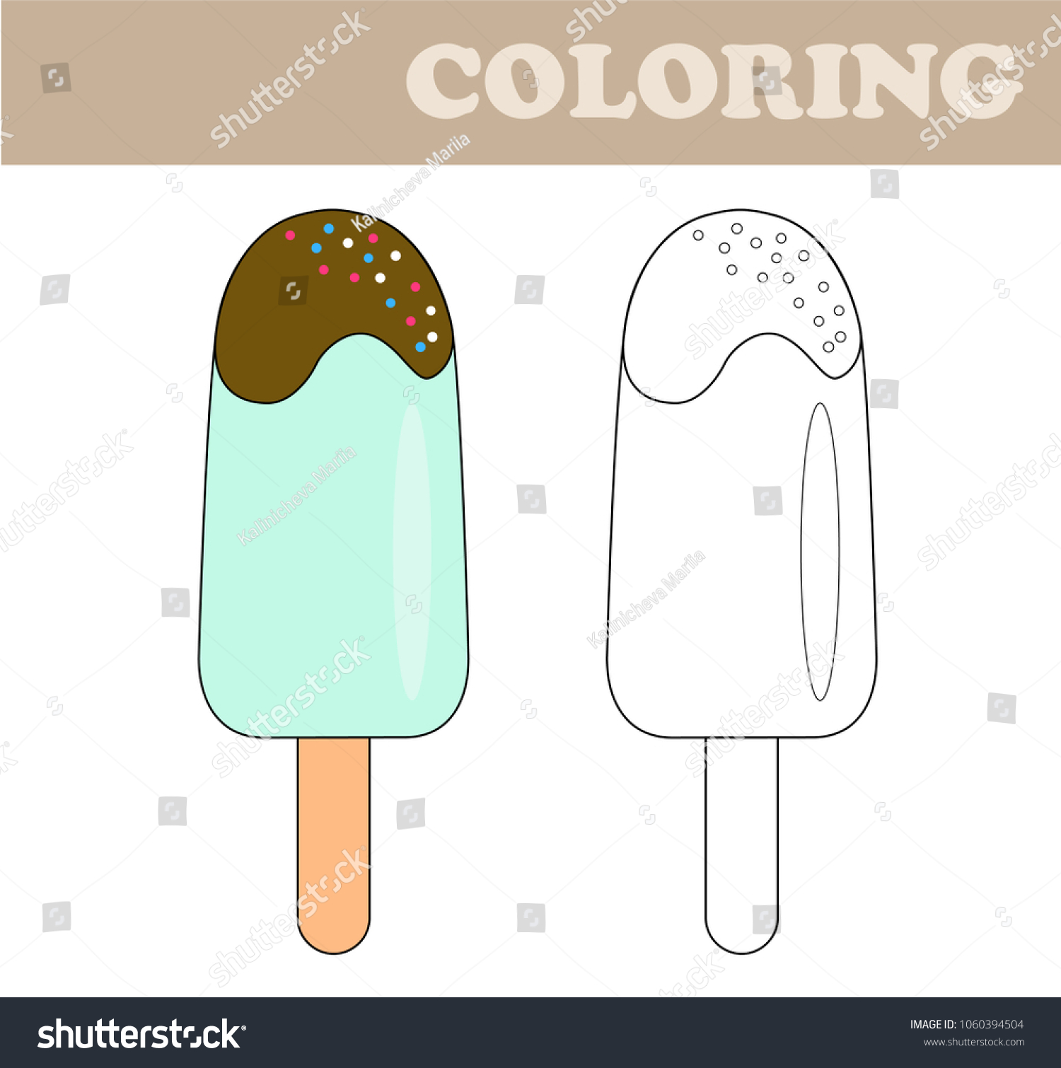 Coloring Page Ice Cream Coloring Book Stock Vector HD (Royalty Free ...