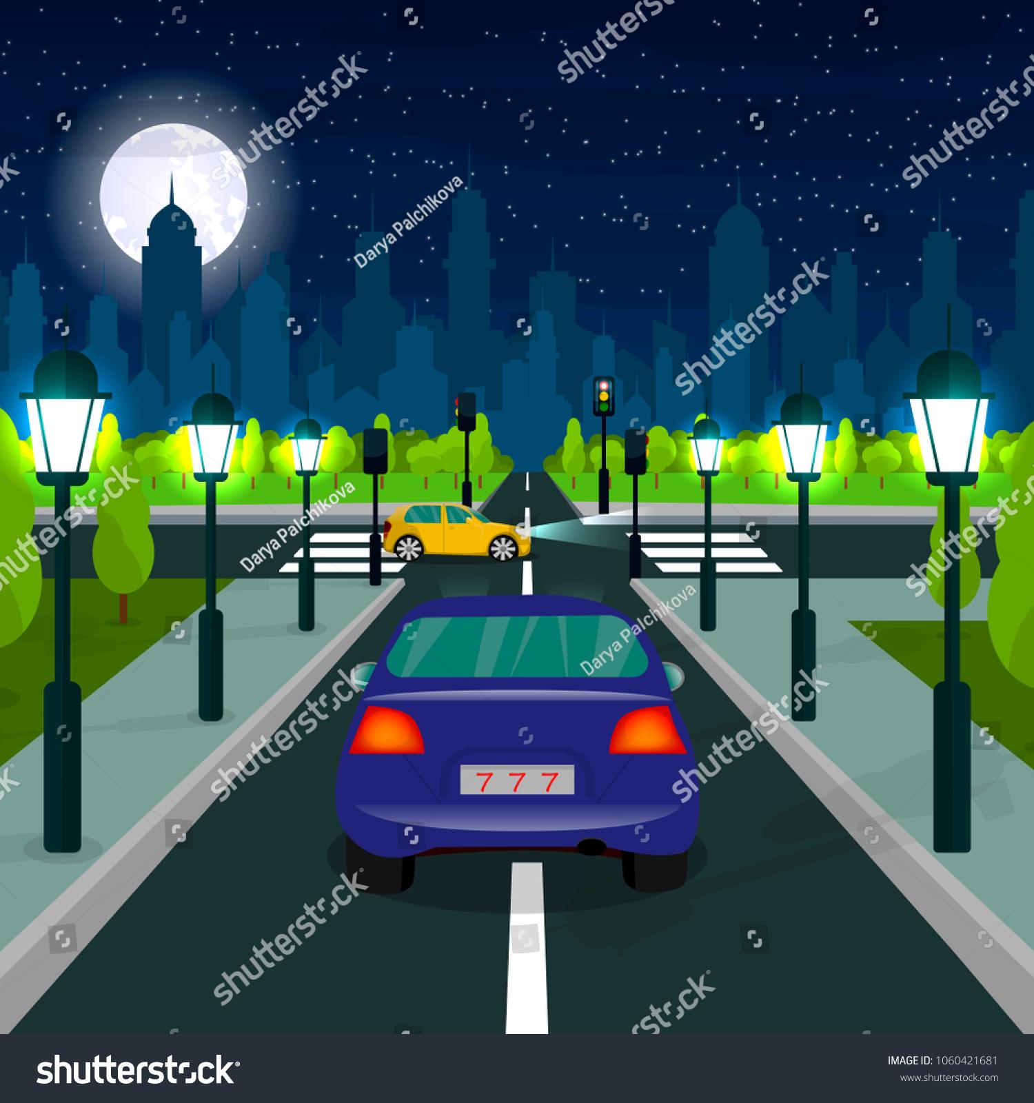 City Landscape Road Pedestrian Car Cartoon Stock Vector Royalty