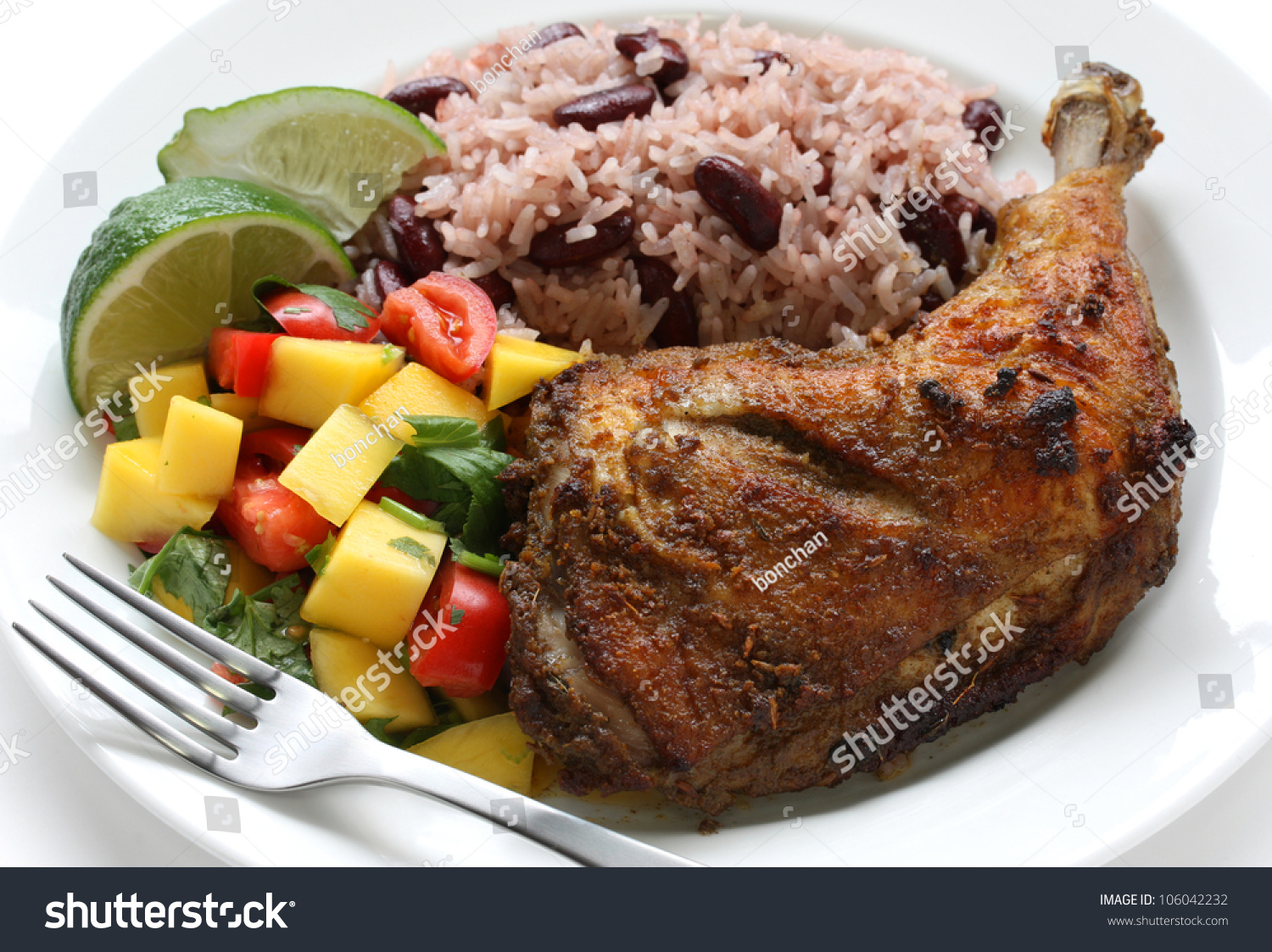 Jerk chicken plate jamaican food stock photo 106042232 for About caribbean cuisine