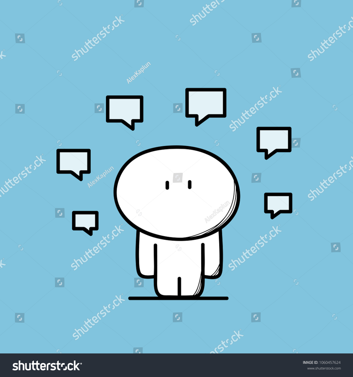 Cute Funny Man Lots Messages Chat Stock Vector Royalty Free