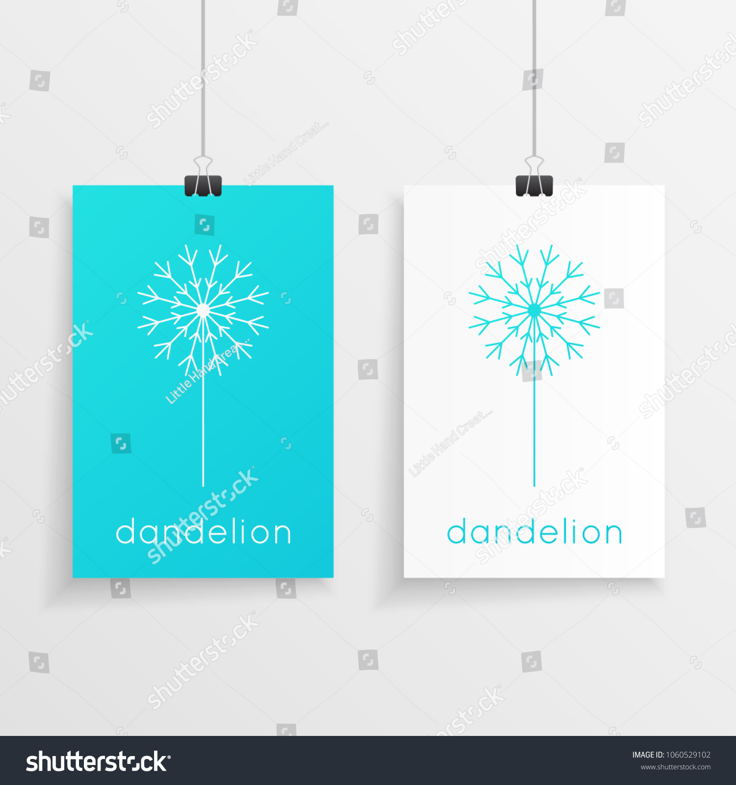 Geometric dandelion flower design blue white stock photo photo geometric dandelion flower design in blue and white colors on a hanging blank paper like art ccuart Image collections