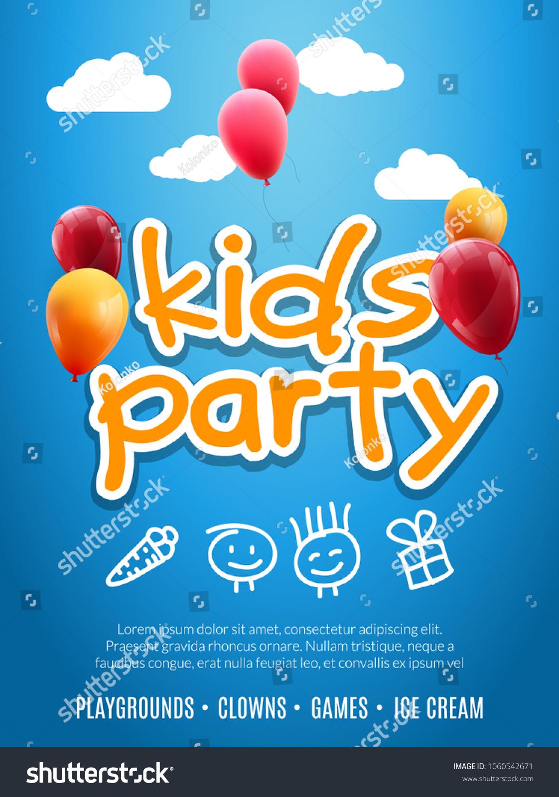 kids party invitation design template child のベクター画像素材