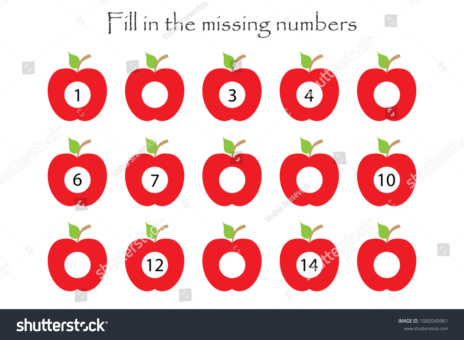 Game Apples Children Fill Missing Numbers Stock Vector 1060549961 ...