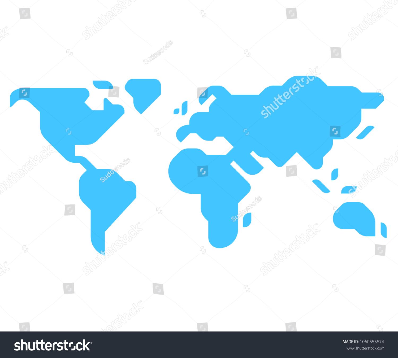 Einfache Silhouette Mit Weltkarte Im Minimalistischen Stock