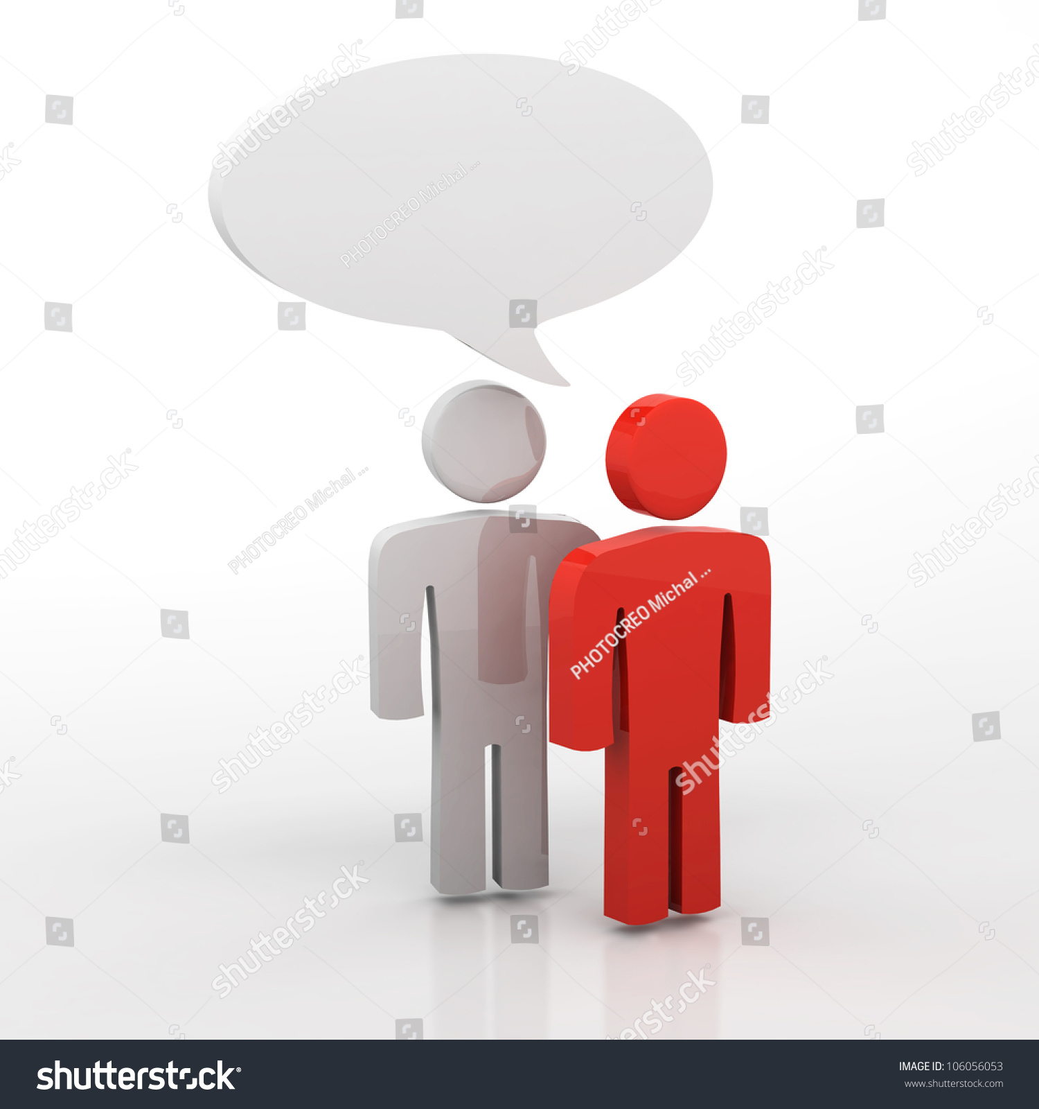 People Having Discussion, Blank Speech Bubbles. One Red