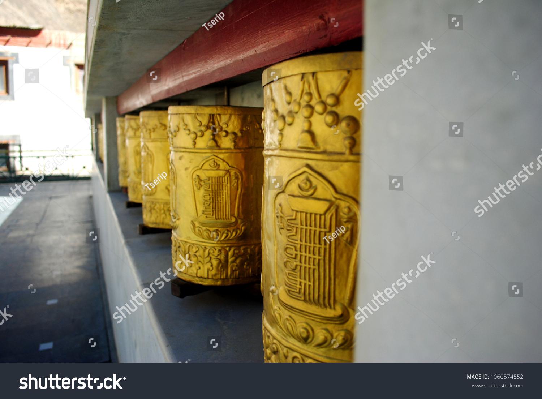 Row Golden Prayer Wheels Tibetan Buddhist Stock Photo (Royalty Free ...