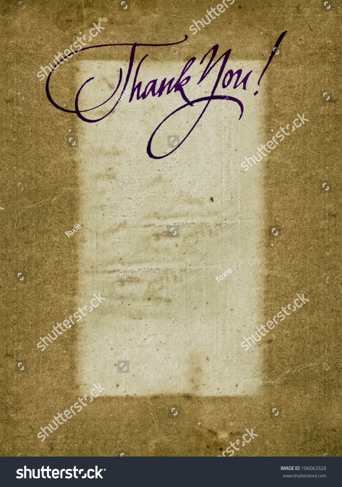 Quot thank you handwritten calligraphy over old vintage paper