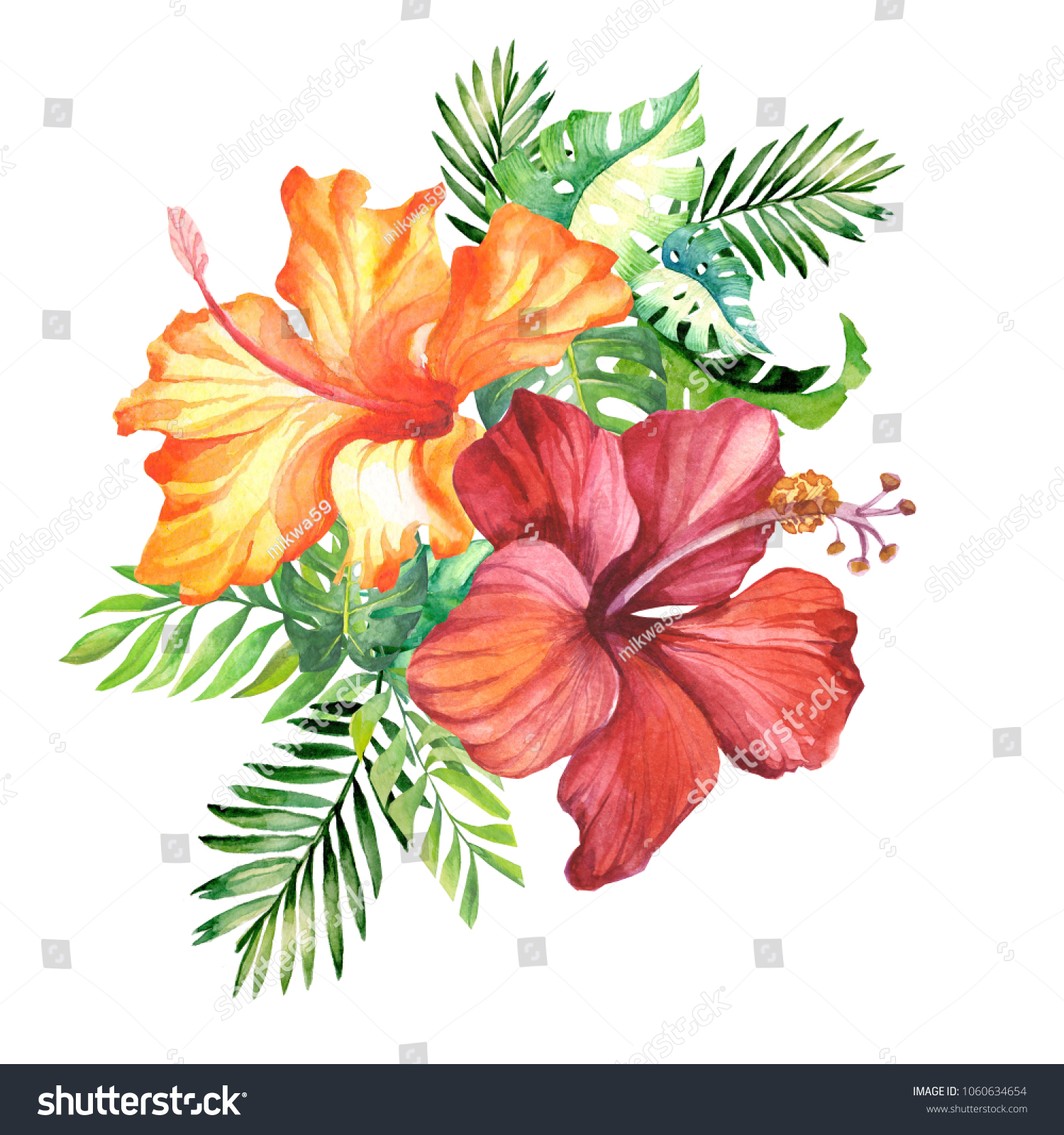 Hibiscus And Palm Leaves Watercolor Illustration Ez Canvas