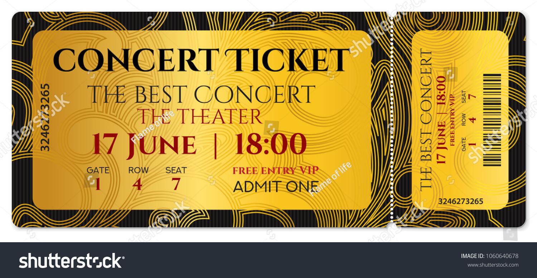 Concert Ticket Template Golden Design Tear Off Mockup On Gold