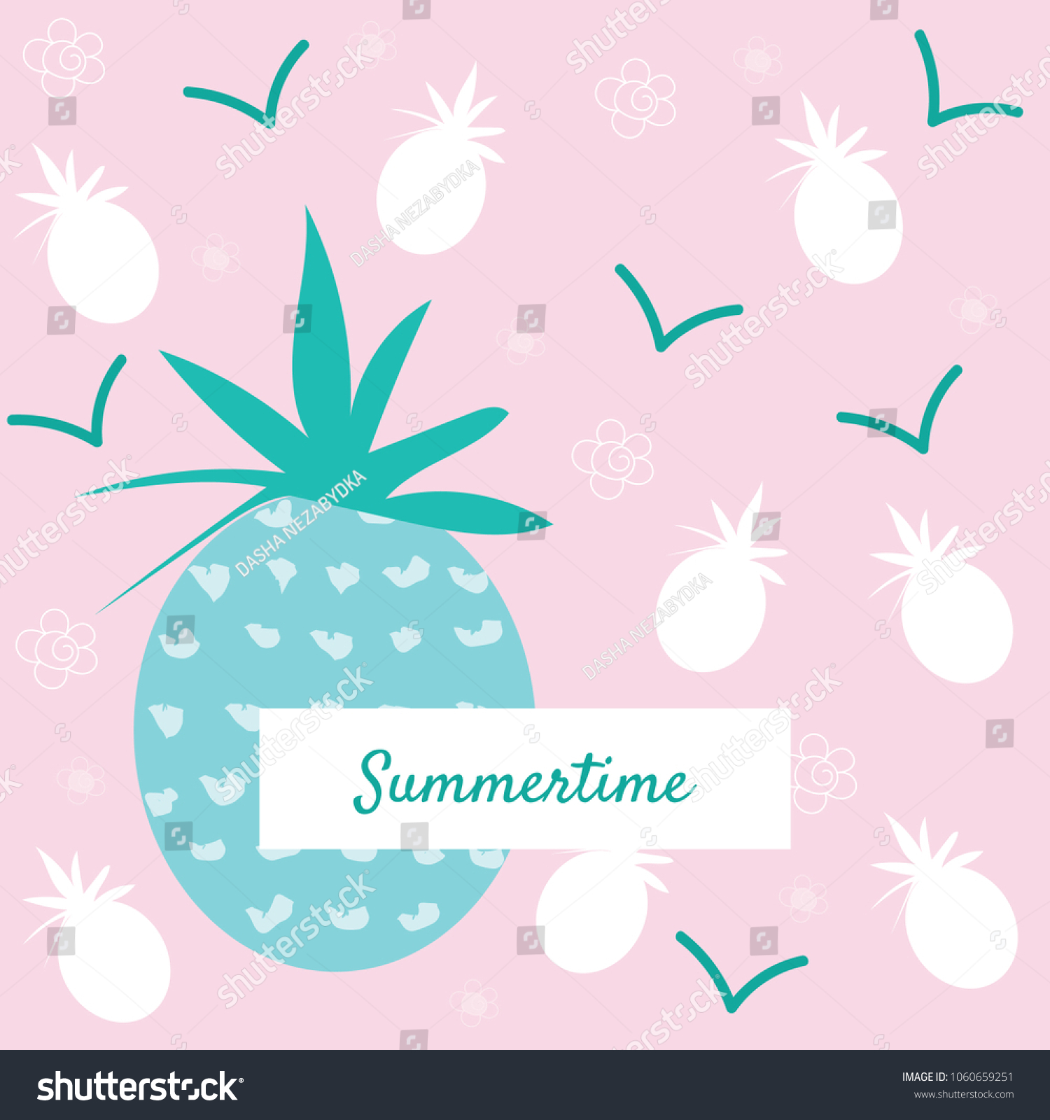 Pineapple Summertime Design Cards Postcards Invitations Stock Vector